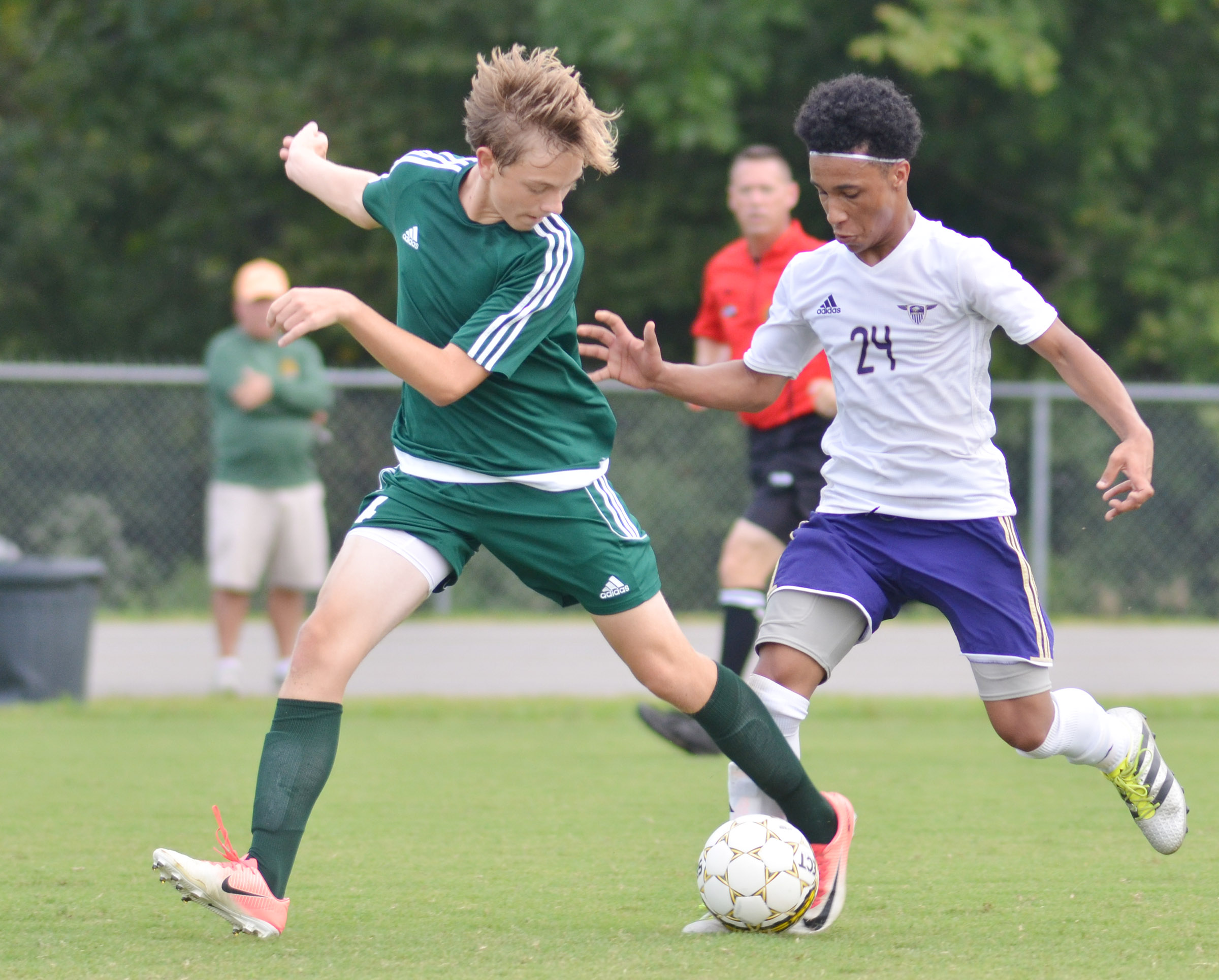 CHS junior Daniel Johnson protects the ball.
