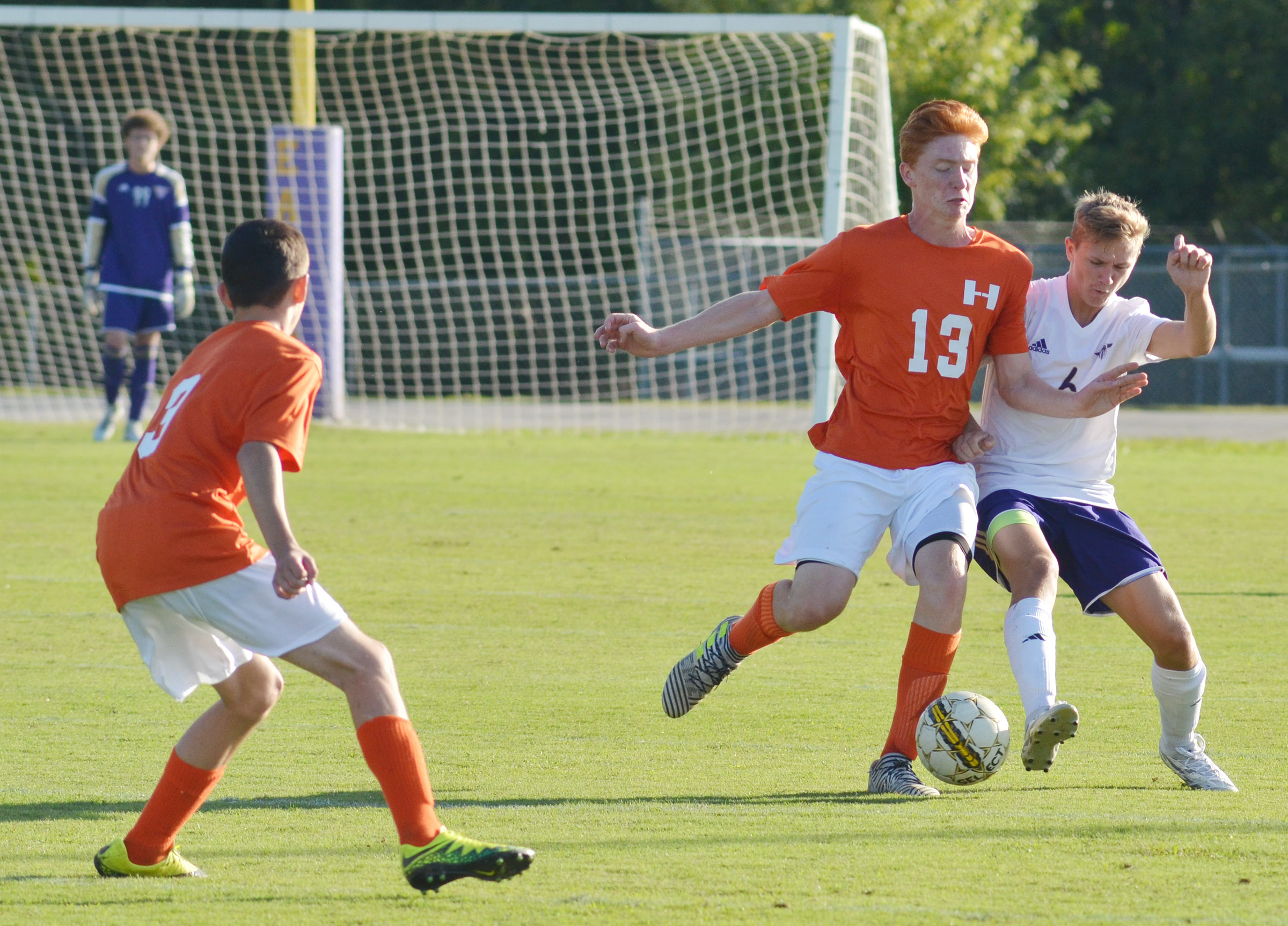 CHS freshman Blase Wheatley battles for the ball.