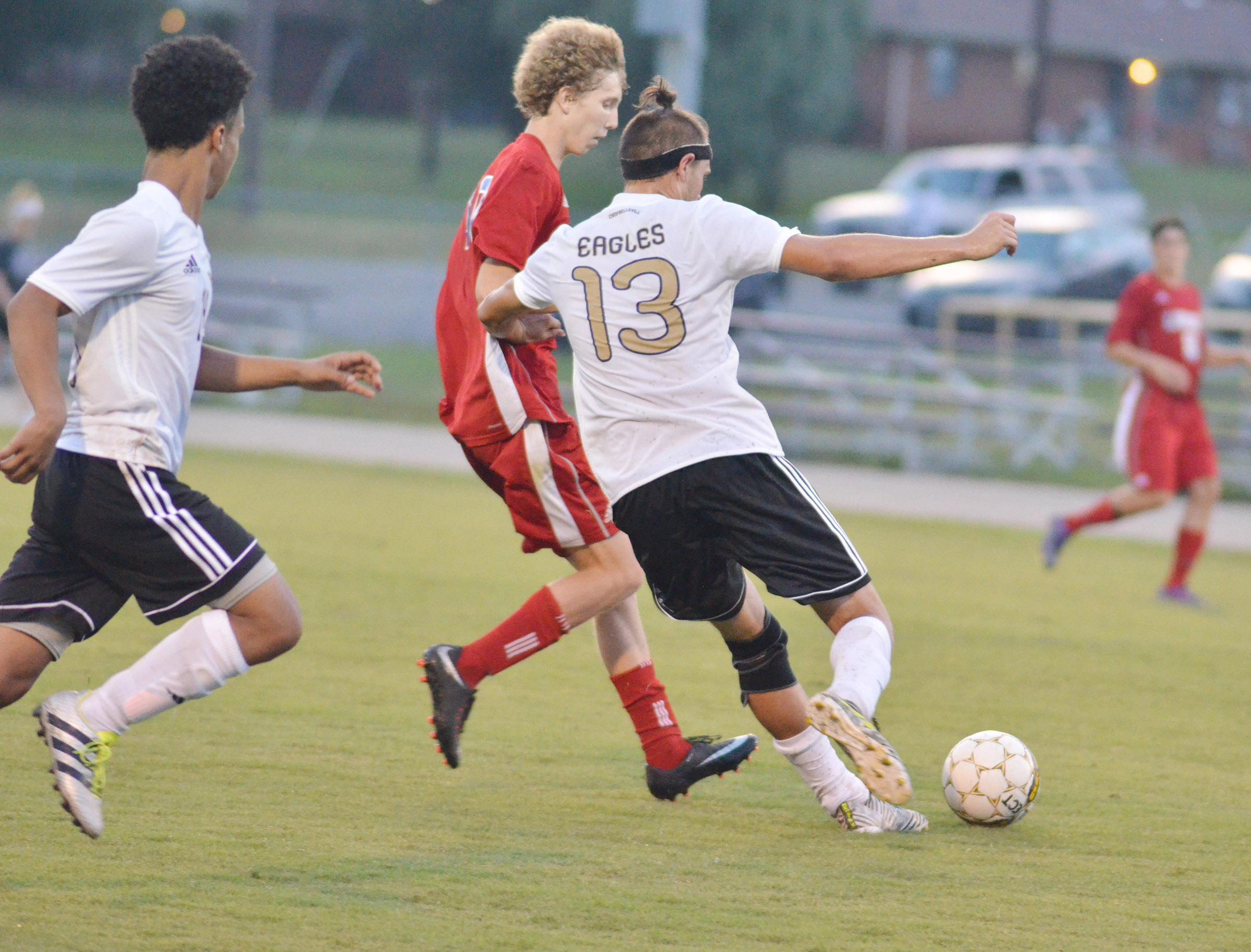 CHS senior Logan Cole fights for the ball.