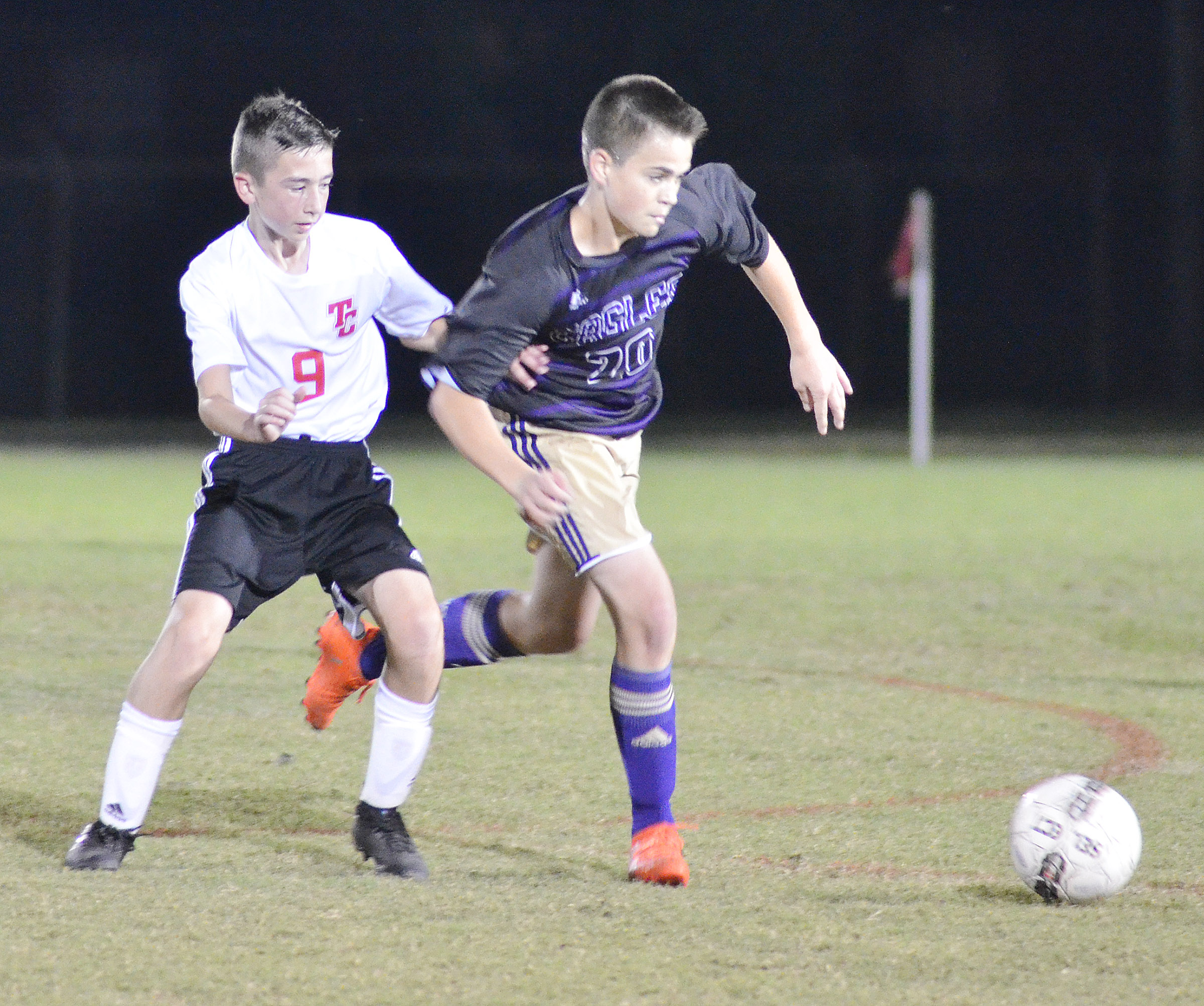CHS freshman Clark Kidwell battles for the ball.