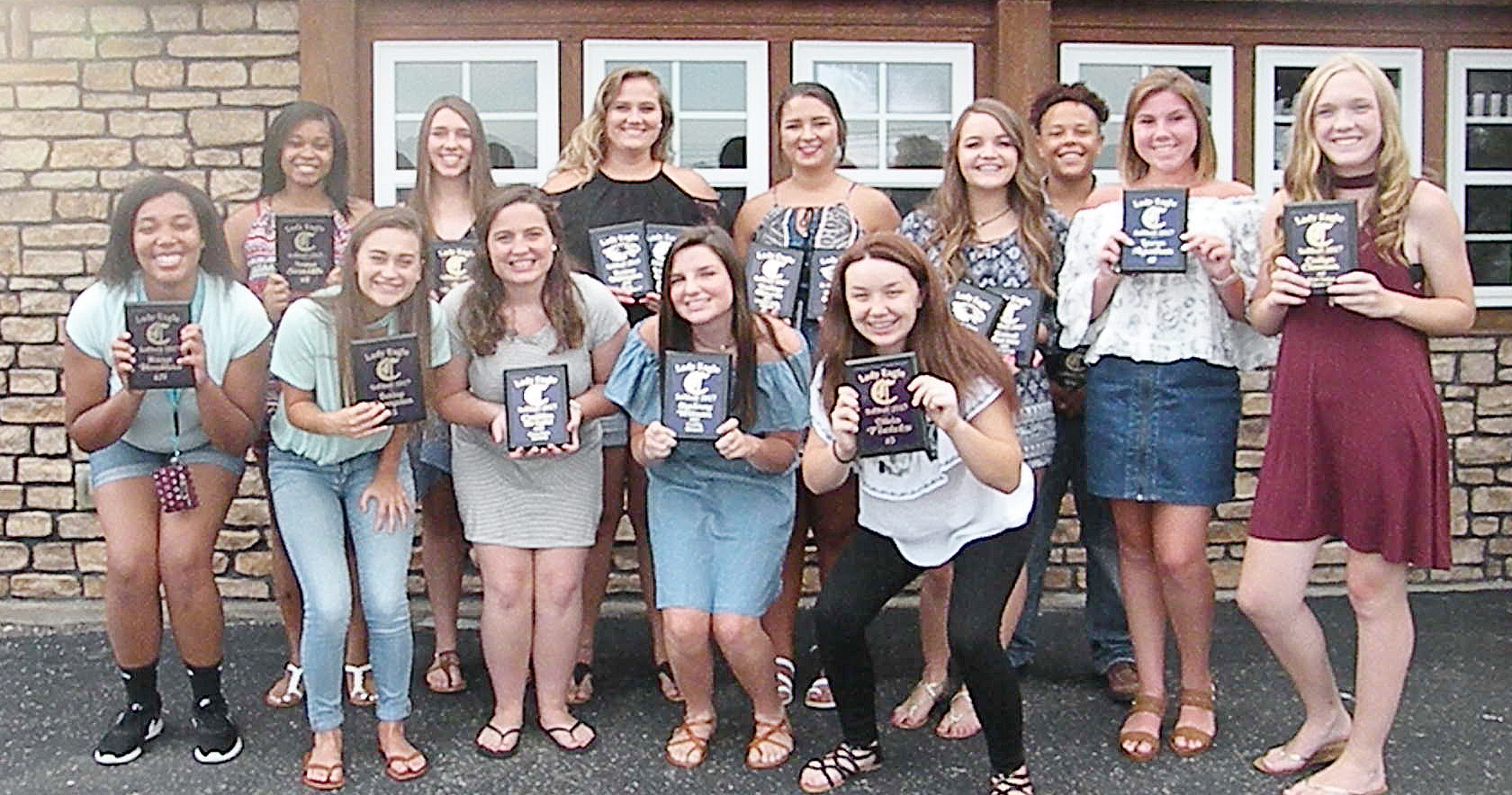 CHS softball players were recently honored at a banquet for their hard work and dedication during this past season. They are, from left, front, senior Malaya Hoskins, sophomore Bailey Thompson, senior Caitlin Bright, sophomore Sydney Wilson and eighth-grader Olivia Fields. Back, senior Vonnea Smith, freshman Abi Wiedewitsch, Brenna Wethington and Kailey Morris, who graduated in May, freshman Kenzi Forbis, junior Dee Simpson, sophomore Lauryn Agathen and freshman Catlyn Clausen. Absent from the photo are sophomore Shallan Philpott and seniors Kayla Young, Kiyah Barnett and Nena Barnett.