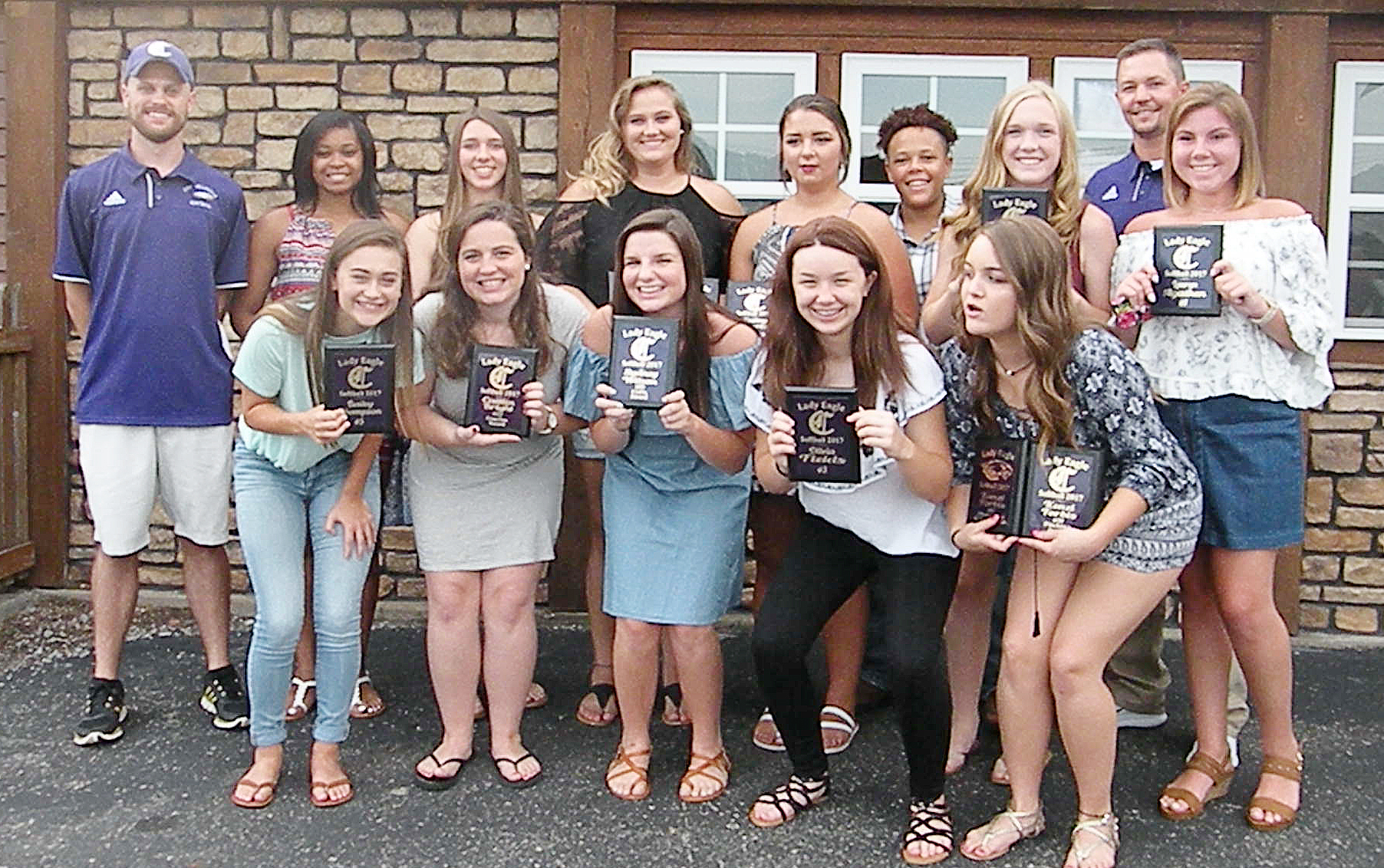 CHS softball players were recently honored at a banquet for their hard work and dedication during this past season. They are, from left, front, sophomore Bailey Thompson, senior Caitlin Bright, sophomore Sydney Wilson, eighth-grader Olivia Fields and freshman Kenzi Forbis. Back, assistant coach Matthew Schmuck, senior Vonnea Smith, freshman Abi Wiedewitsch, Brenna Wethington and Kailey Morris, who graduated in May, junior Dee Simpson, freshman Catlyn Clausen, head coach Weston Jones and sophomore Lauryn Agathen. Absent from the photo are sophomore Shallan Philpott and seniors Kayla Young, Kiyah Barnett and Nena Barnett.