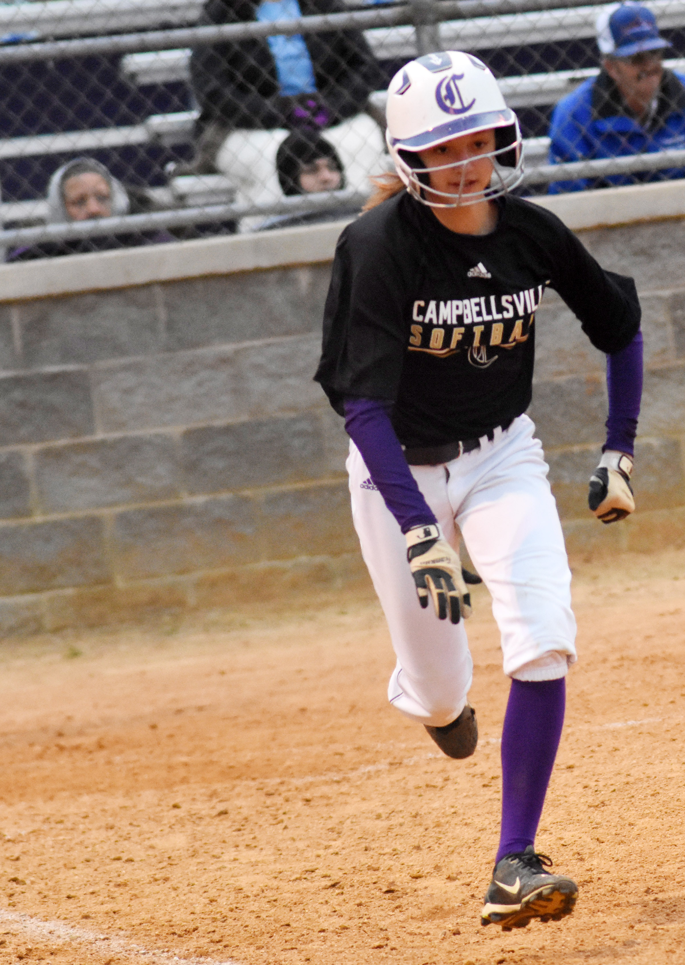 Campbellsville Middle School seventh-grader Bri Hayes runs to first base.