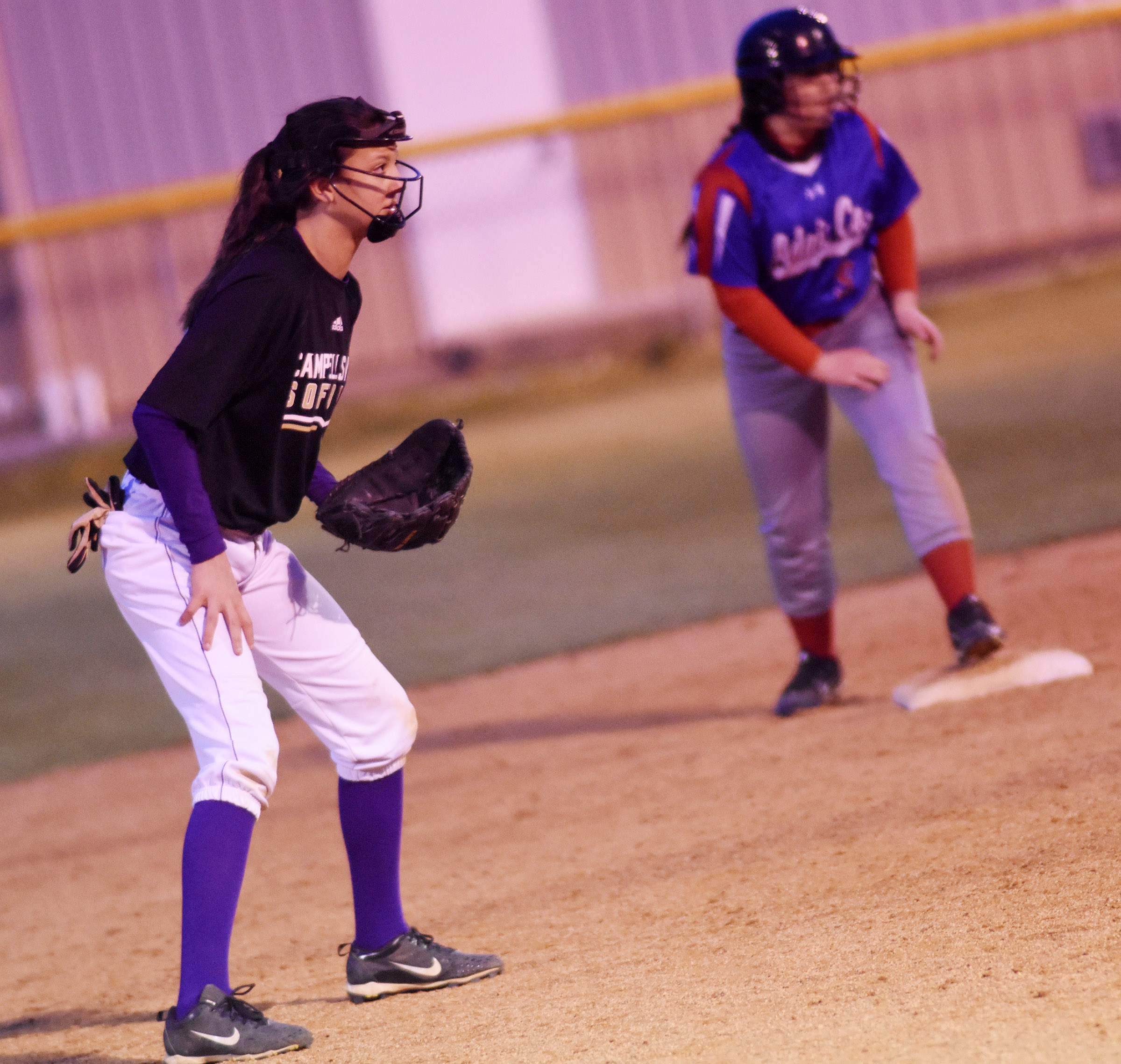 Campbellsville Middle School seventh-grader Bri Hayes watches the runner at second.
