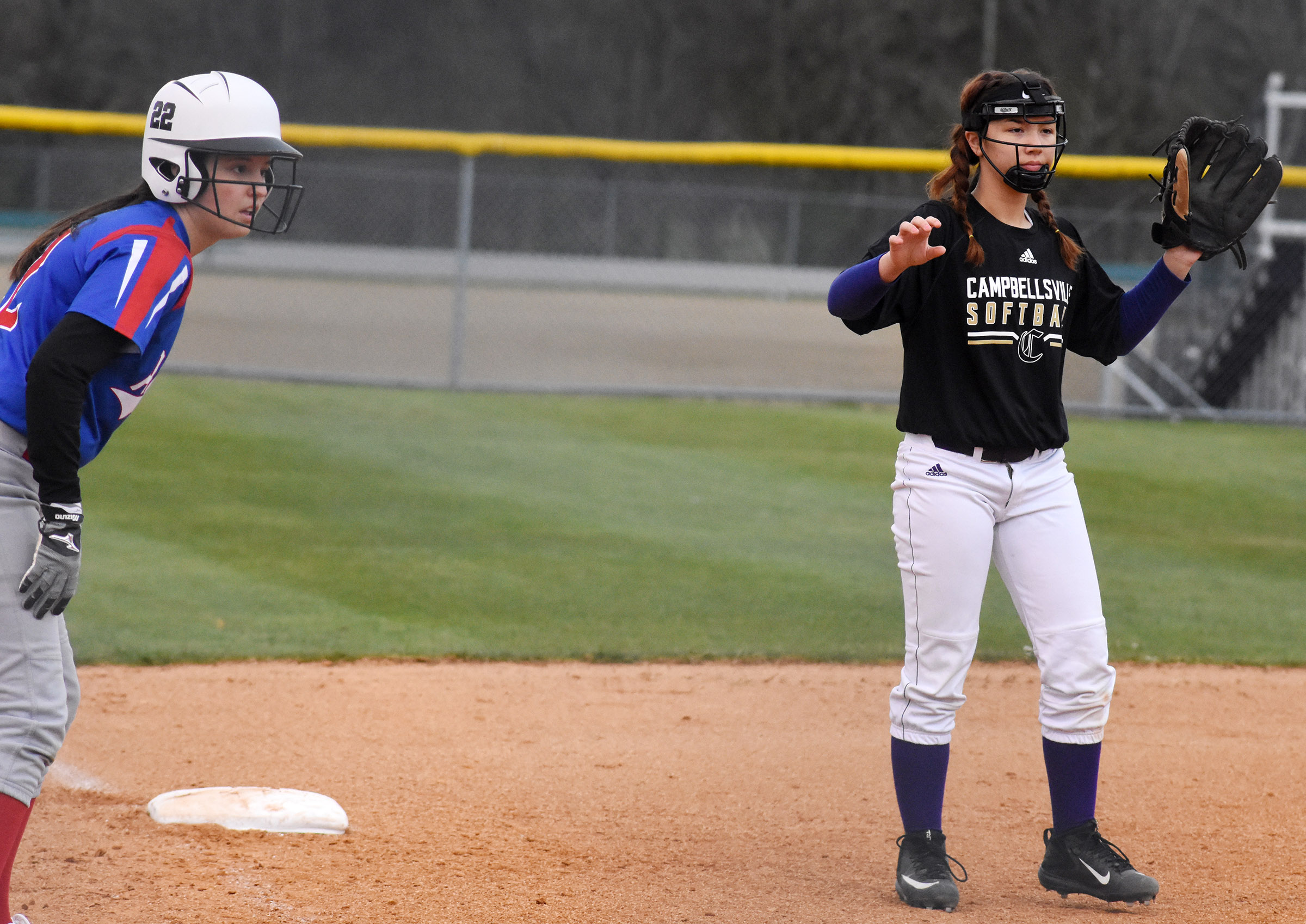 Campbellsville Middle School eighth-grader Olivia Fields mans third base.
