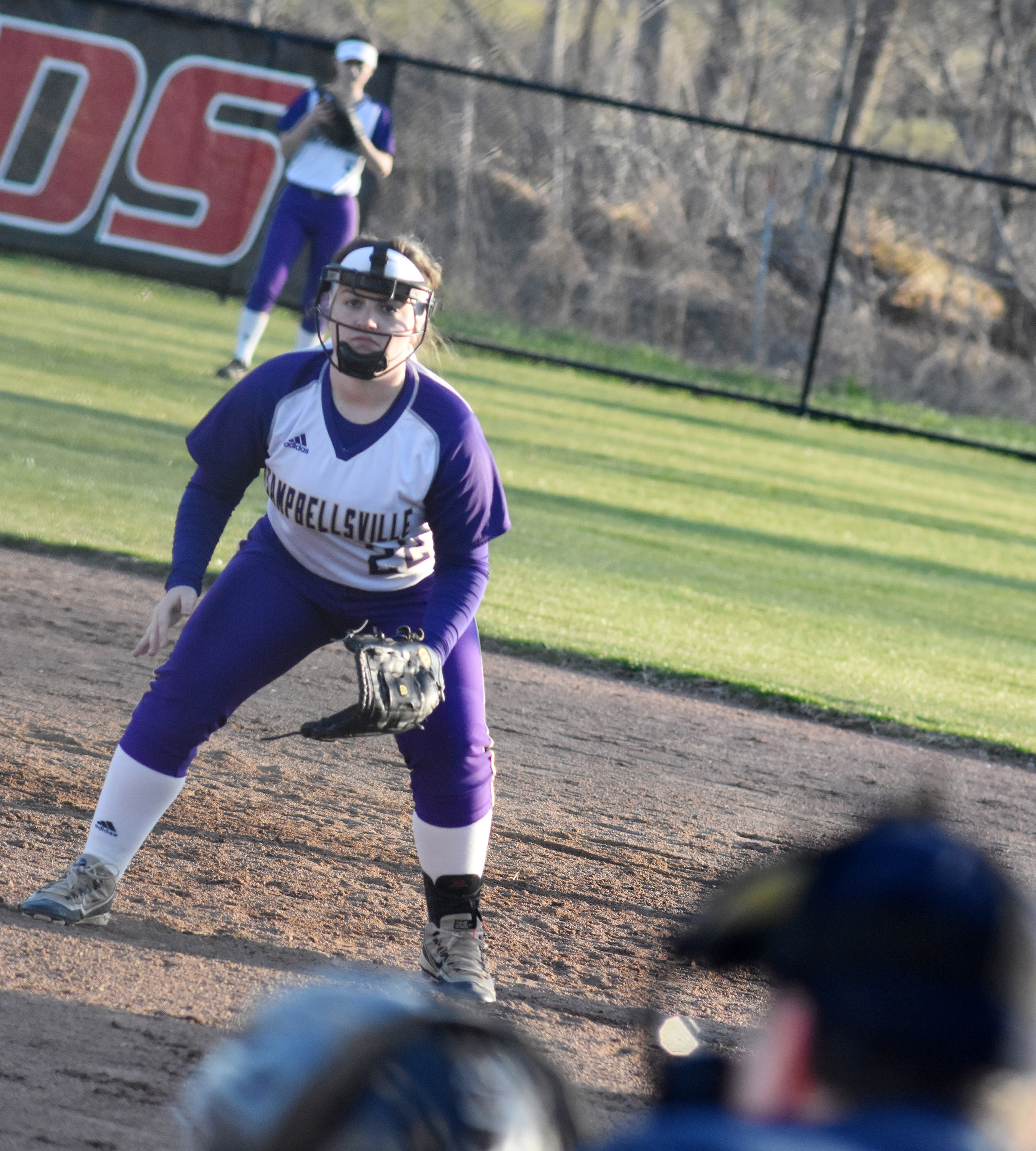 CHS senior Caitlin Bright watches the batter.