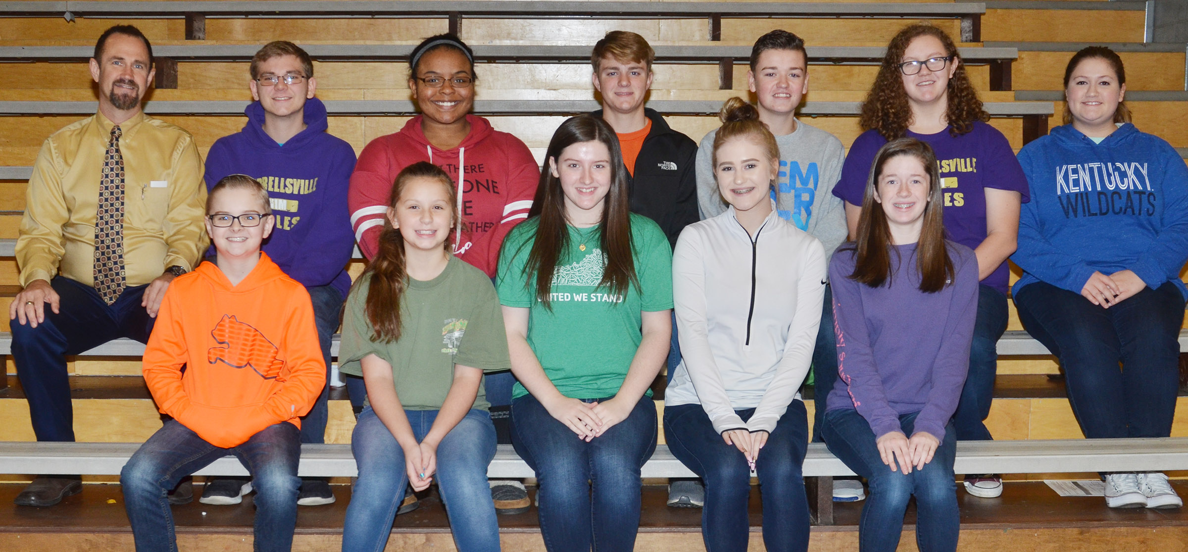 This year's CHS swim team members are, from left, front, Campbellsville Middle School sixth-graders Caleb Holt and Mollie Bailey and CHS sophomores Alli Wilson, Isabella Osborne and Gracyne Hash. Back, coach Steve Doss, juniors Brandon Greer and Natalie Caldwell, senior Alex Doss and sophomores Gavin Johnson, Emily Rodgers and Aleah Knifley. Absent from the photo is senior Bryce Richardson.