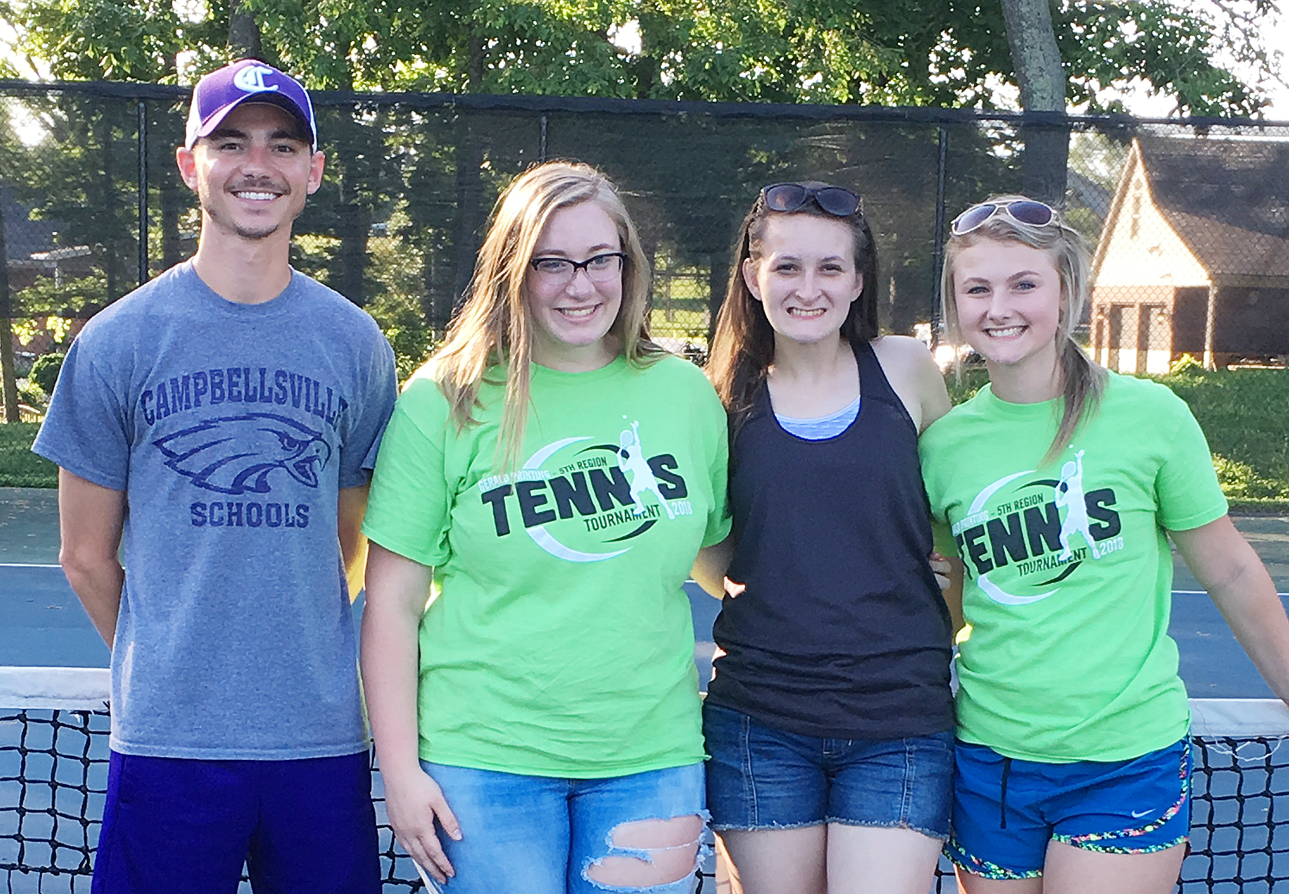 CHS girls' tennis team players for 2017-2018 were recently honored at a banquet for their success this season. From left are coach Bradley Harris, sophomore Samantha Johnson, senior Kimberly Harden and sophomore Victoria Cox. Absent from the photo is senior Sara Farmer.