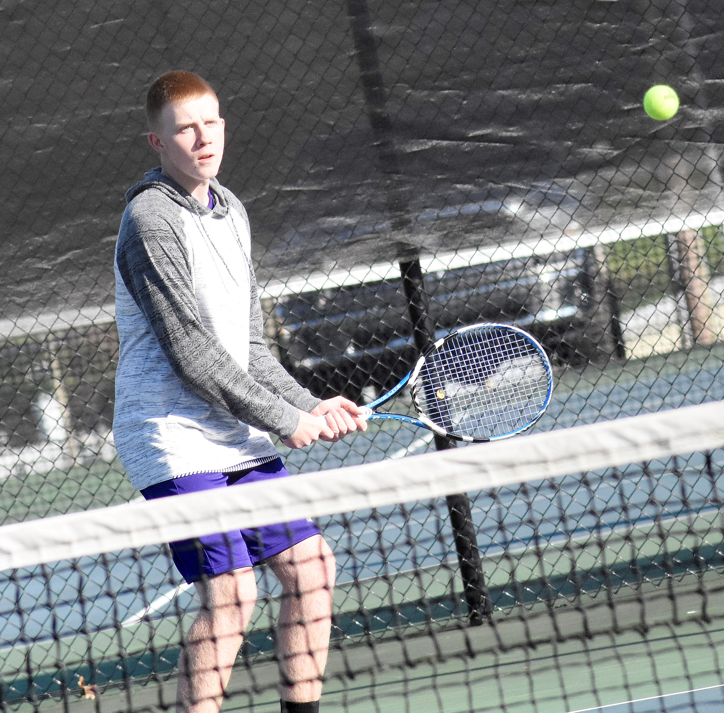 CHS sophomore Patrick Walker hits the ball.