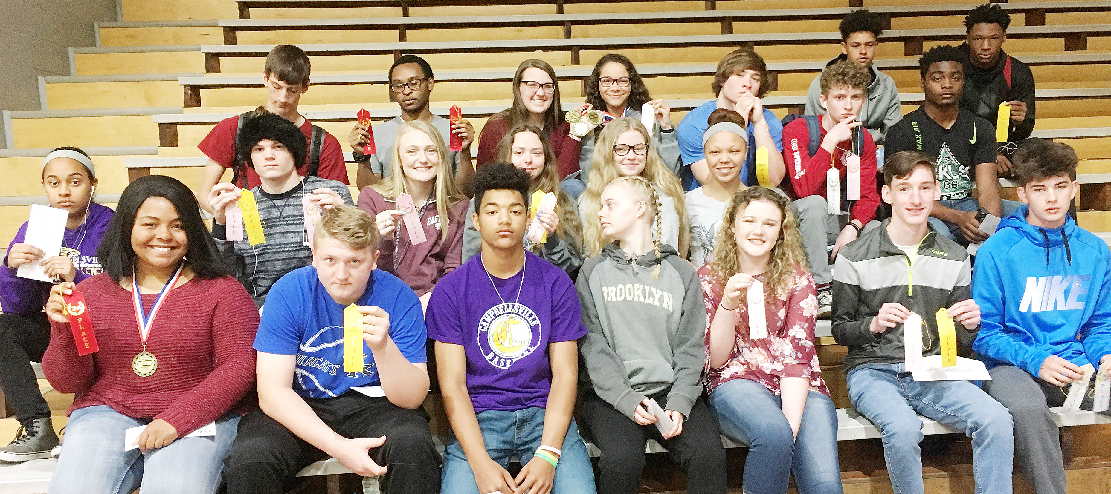 CHS track team finished the Heartland Conference meet in third place. From left, front, are junior Natalie Caldwell, freshmen Jake Dicken and Reggie Thomas, Campbellsville Middle School eighth-graders Gabby Skaggs and Abby Brisko, junior Ian McAninch and sophomore Mark Rigsby. Second row, sophomore Jasmine Coro, juniors Joe Pipes, Abbie Dicken and Christa Riggs, Campbellsville Middle School seventh-grader Whitney Frashure and eighth-grader Kitana Taylor. Third row, juniors Evan McAninch and Daesean Vancleave, sophomores Haley Morris and Taliyah Hazelwood and juniors Tristan Johnson, Jackson Hinton and Charlie Pettigrew. Back, sophomore Mikael Vaught and junior Taj Sanders.