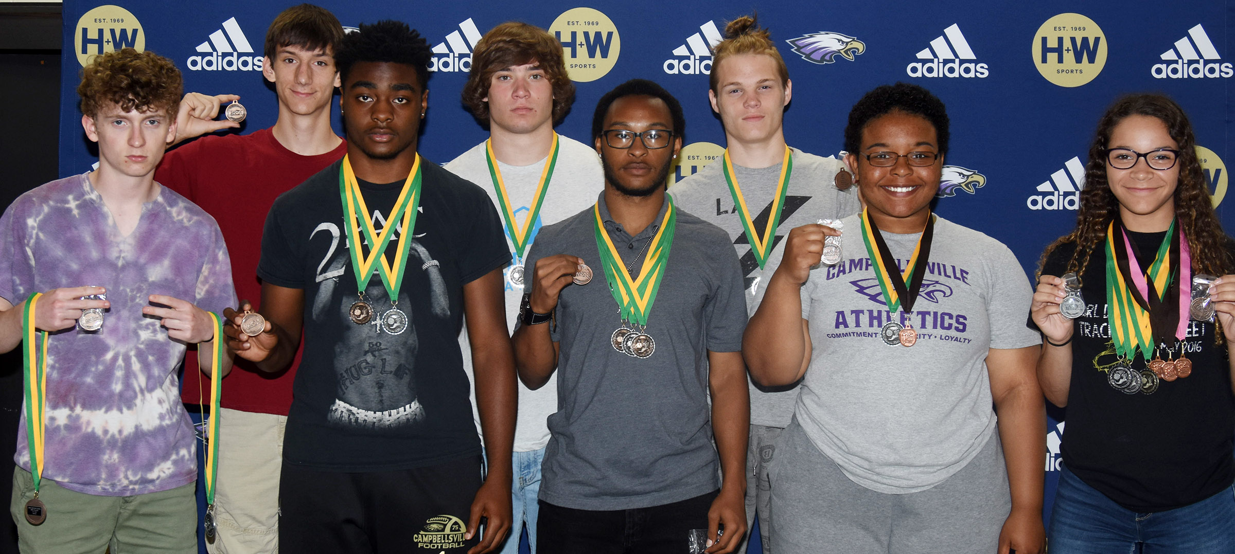 CHS track team members who medaled at the region and other recent meets are, from left, front, juniors Jackson Hinton, Charlie Pettigrew, Daesean Vancleave and Natalie Caldwell and sophomore Taliyah Hazelwood. Back, juniors Evan McAninch, Tristan Johnson and Joe Pipes.