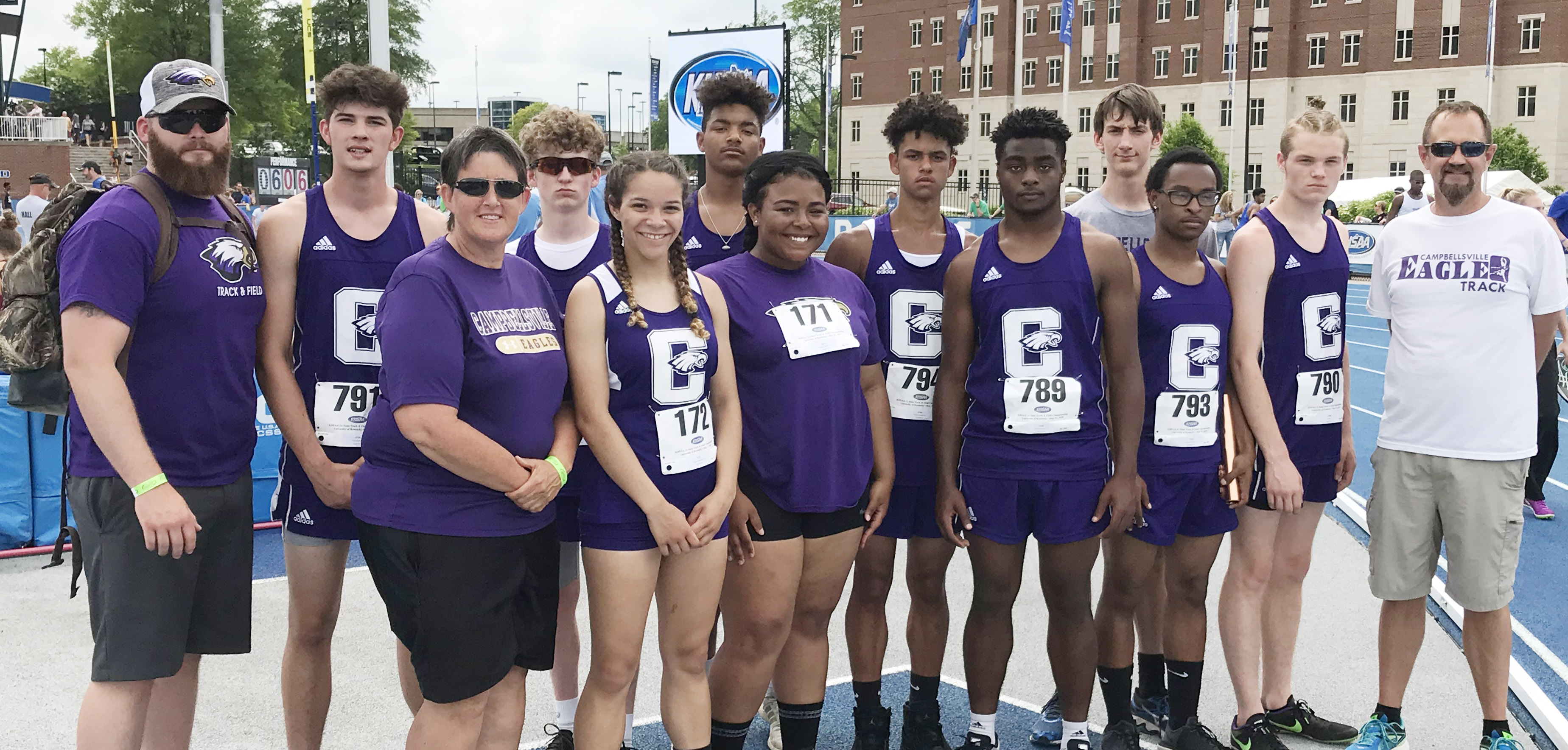 Campbellsville High School track team members competed at the Kentucky High School Athletic Association meet on Thursday, May 17. From left, front, are coach Katie Wilkerson, sophomore Taliyah Hazelwood, juniors Natalie Caldwell, Charlie Pettigrew, Daesean Vancleave and Joe Pipes and coach Steve Doss. Back, assistant Tyler Abney, sophomore Mark Rigsby, junior Jackson Hinton, freshman Reggie Thomas, sophomore Mikael Vaught and junior Evan McAninch.
