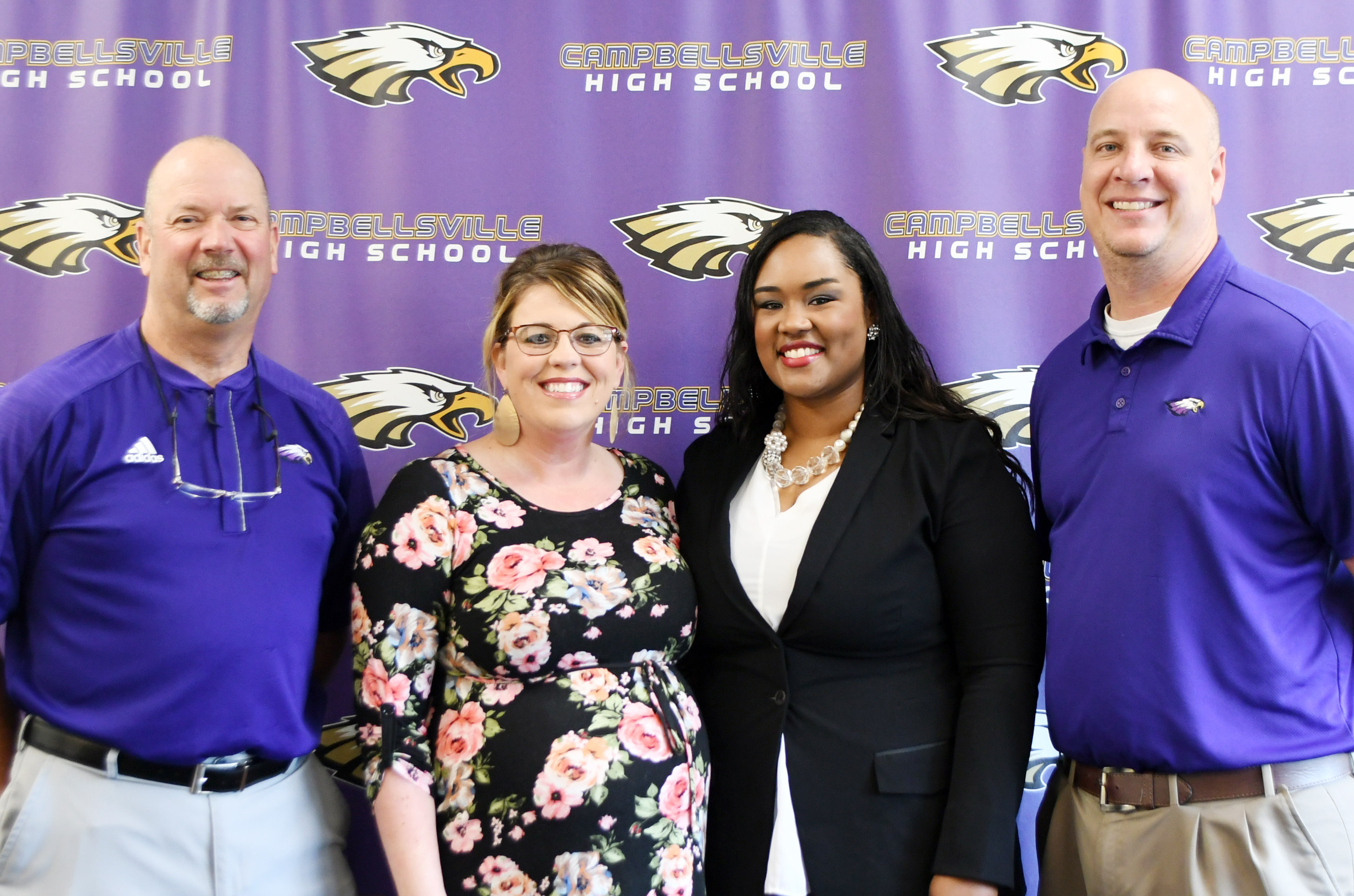 Campbellsville High School has hired a familiar face as its new head volleyball coach. Shajuana Ditto will begin her first season as head coach in August. She replaces Elisha Rhodes, who was head coach for the past two seasons. The announcement was made in a special ceremony on Thursday, May 17. From left are CHS Athletic Director Tim Davis, Rhodes, Ditto and CHS Principal David Petett.