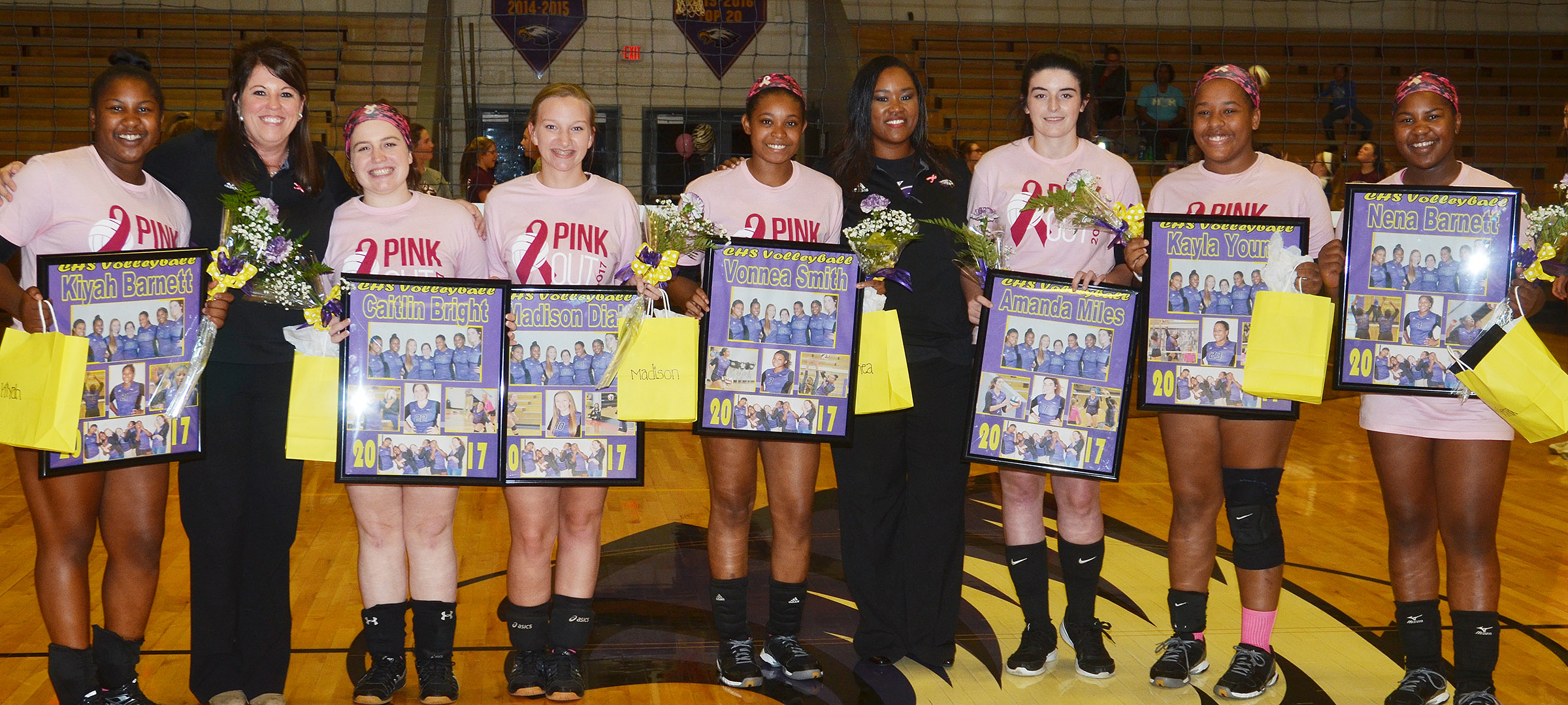 CHS senior volleyball players are honored. From left are Kiyah Barnett, head coach Elisha Rhodes, Caitlin Bright, Madison Dial, Vonnea Smith, assistant coach Shajuana Ditto, Amanda Miles, Kayla Young and Nena Barnett.