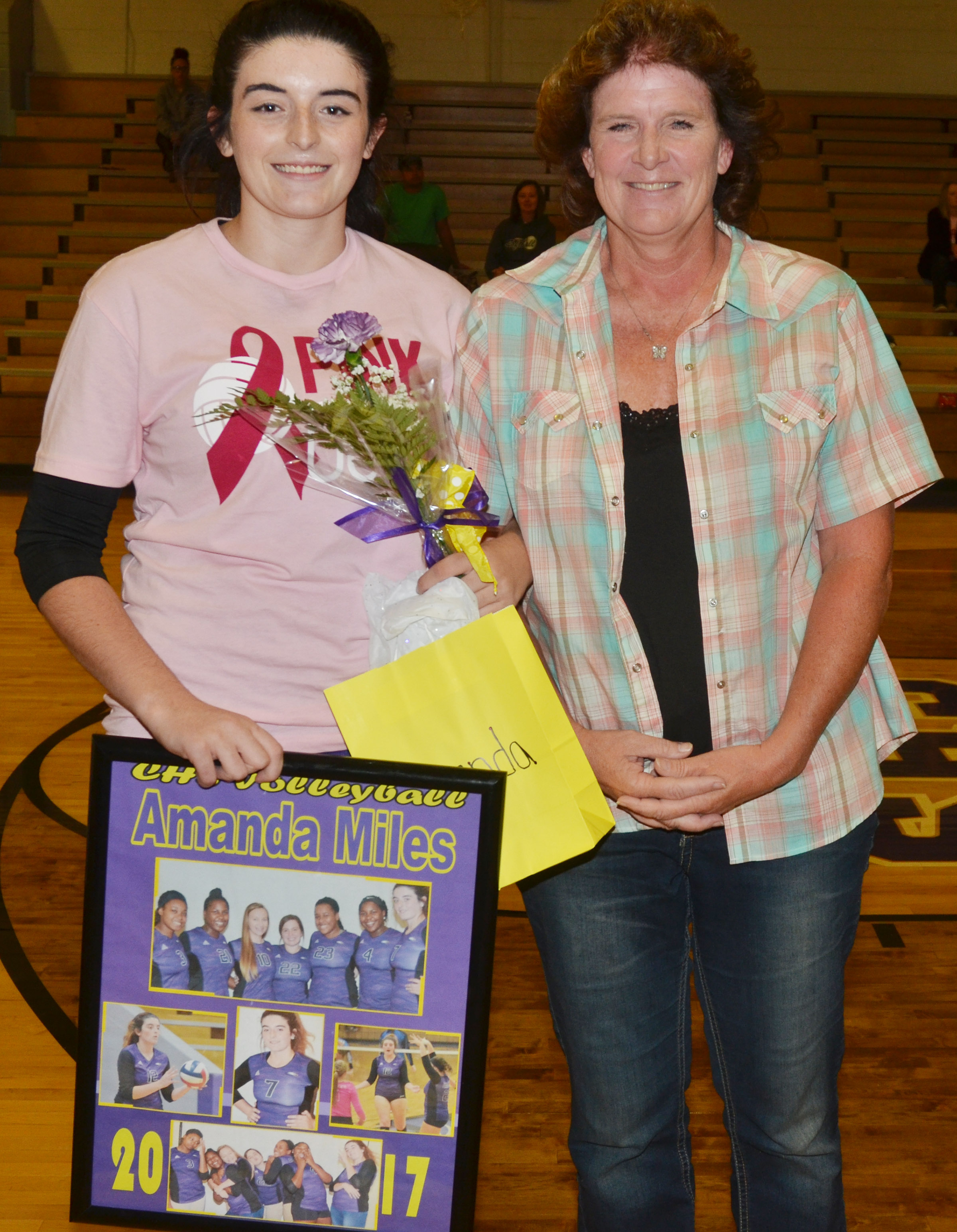 CHS senior volleyball player Amanda Miles is honored.