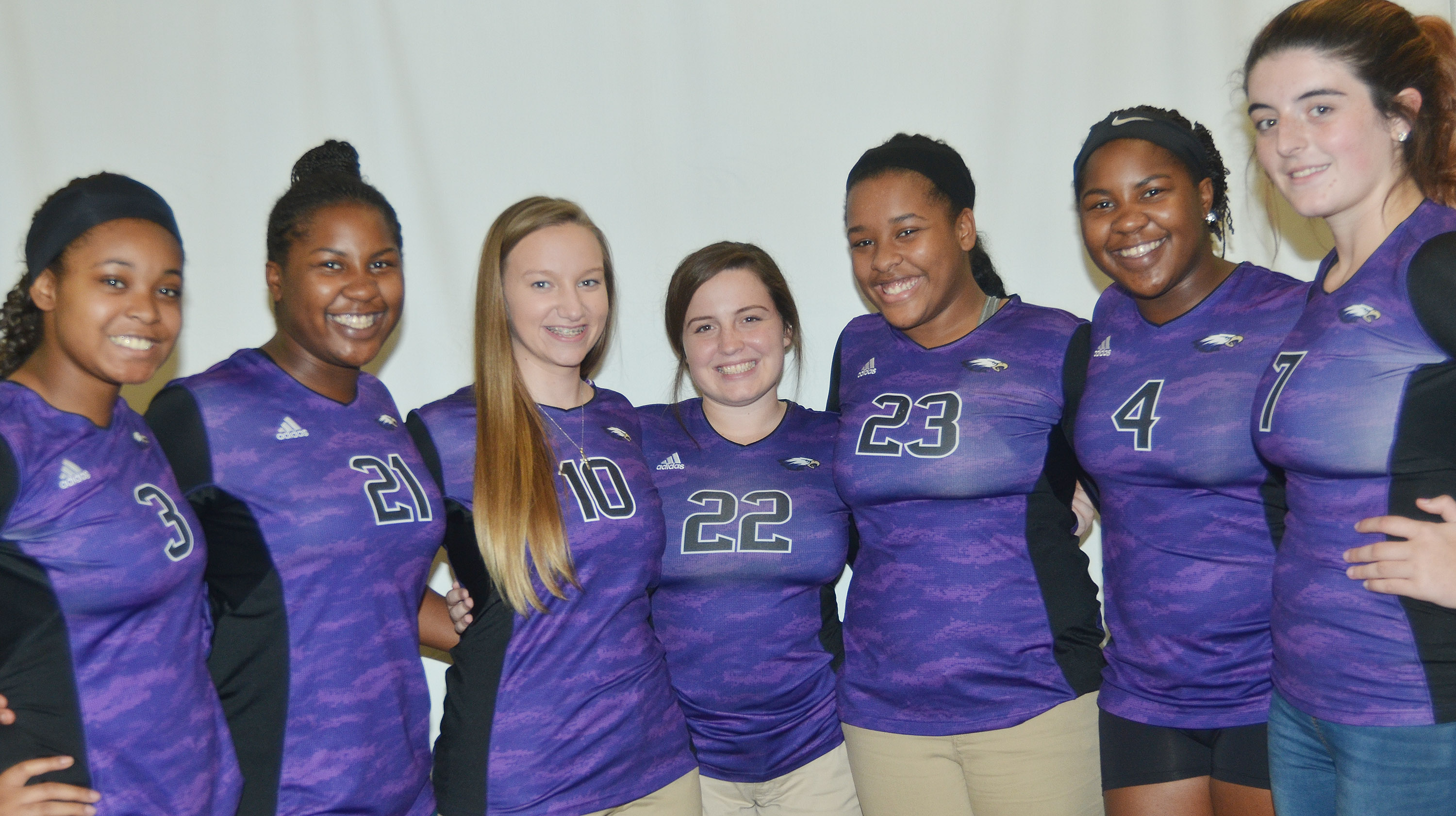 CHS volleyball senior players will be honored on Thursday, Oct. 12, at about 7:45 p.m. in the CHS gym. They are, from left, Vonnea Smith, Kiyah Barnett, Madison Dial, Caitlin Bright, Kayla Young, Nena Barnett and Amanda Miles.