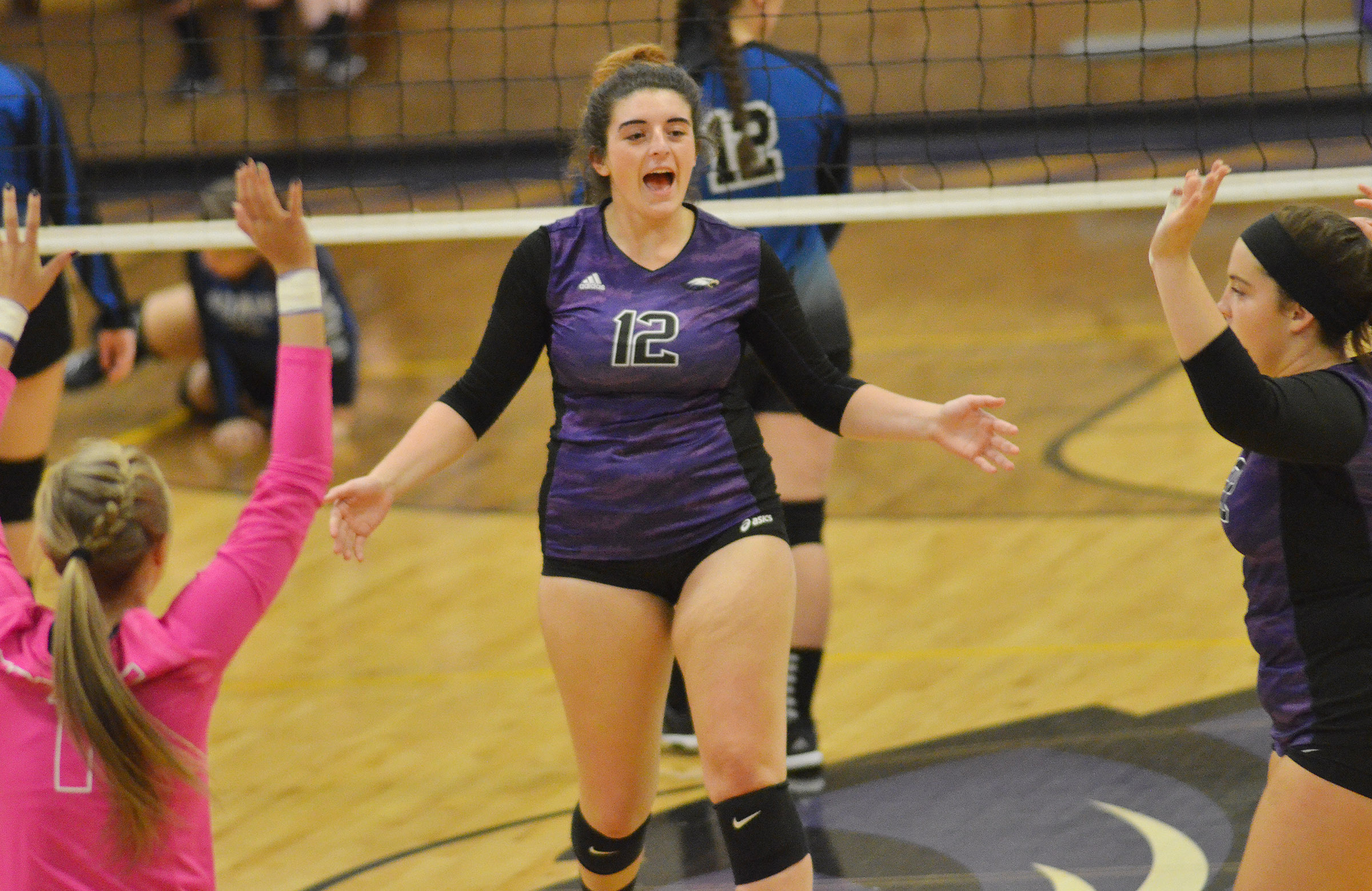 CHS senior Amanda Miles celebrates a point.