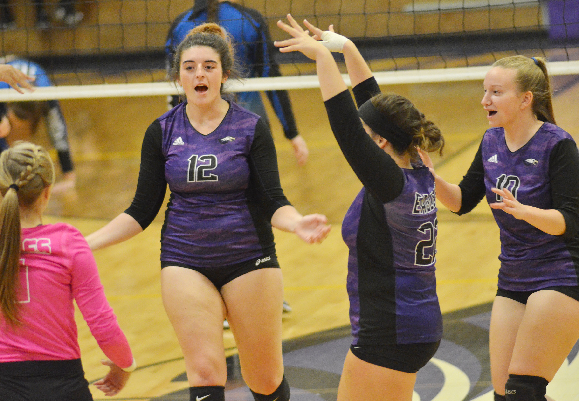 From left, CHS junior Tatem Wiseman and seniors Amanda Miles, Caitlin Bright and Madison Dial celebrate a point.