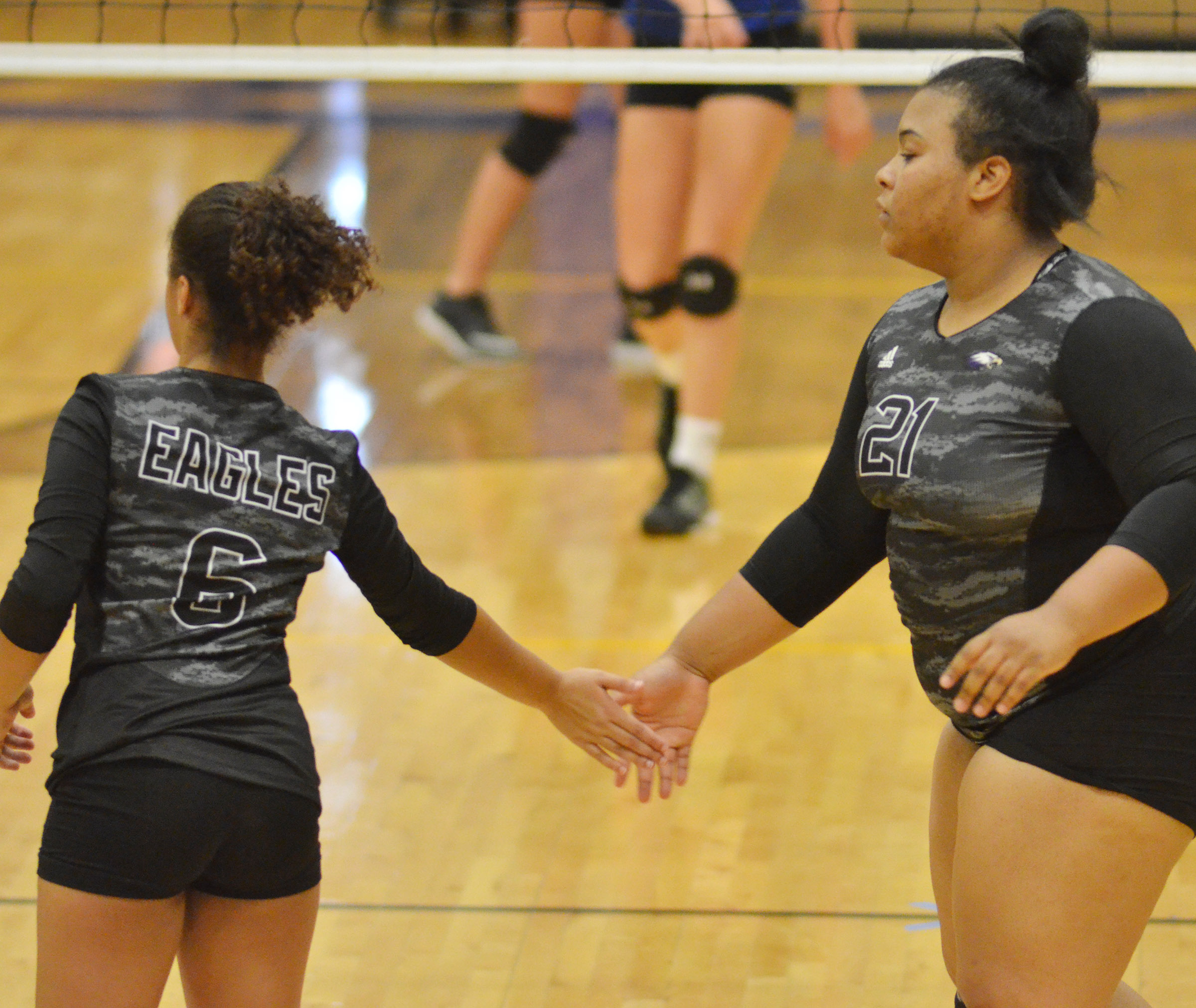 CHS freshman Laci Hodges, at left, and junior Natalie Caldwell high-five after a point.