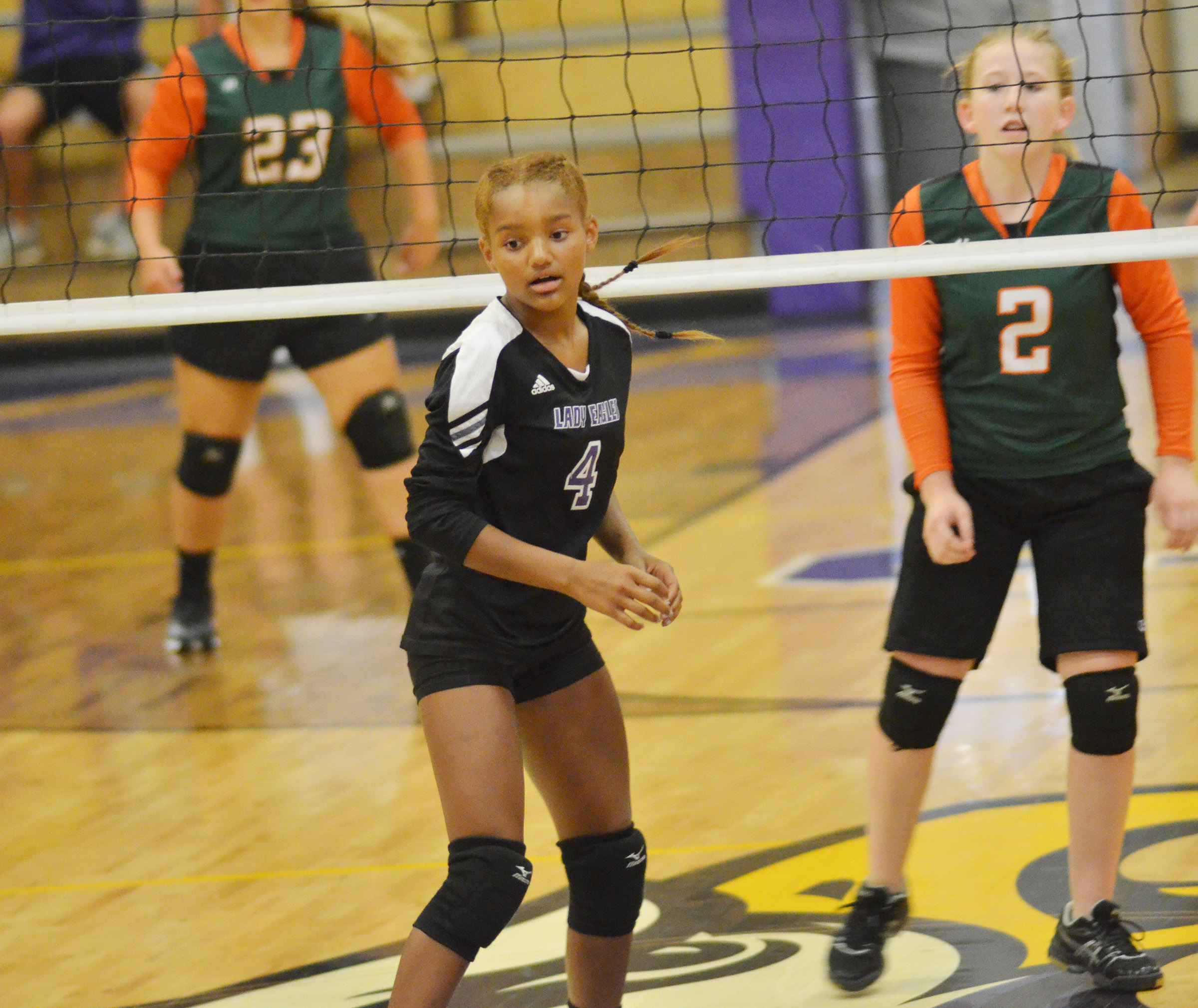 Campbellsville Middle School eighth-grader Alexis Thomas watches the ball.
