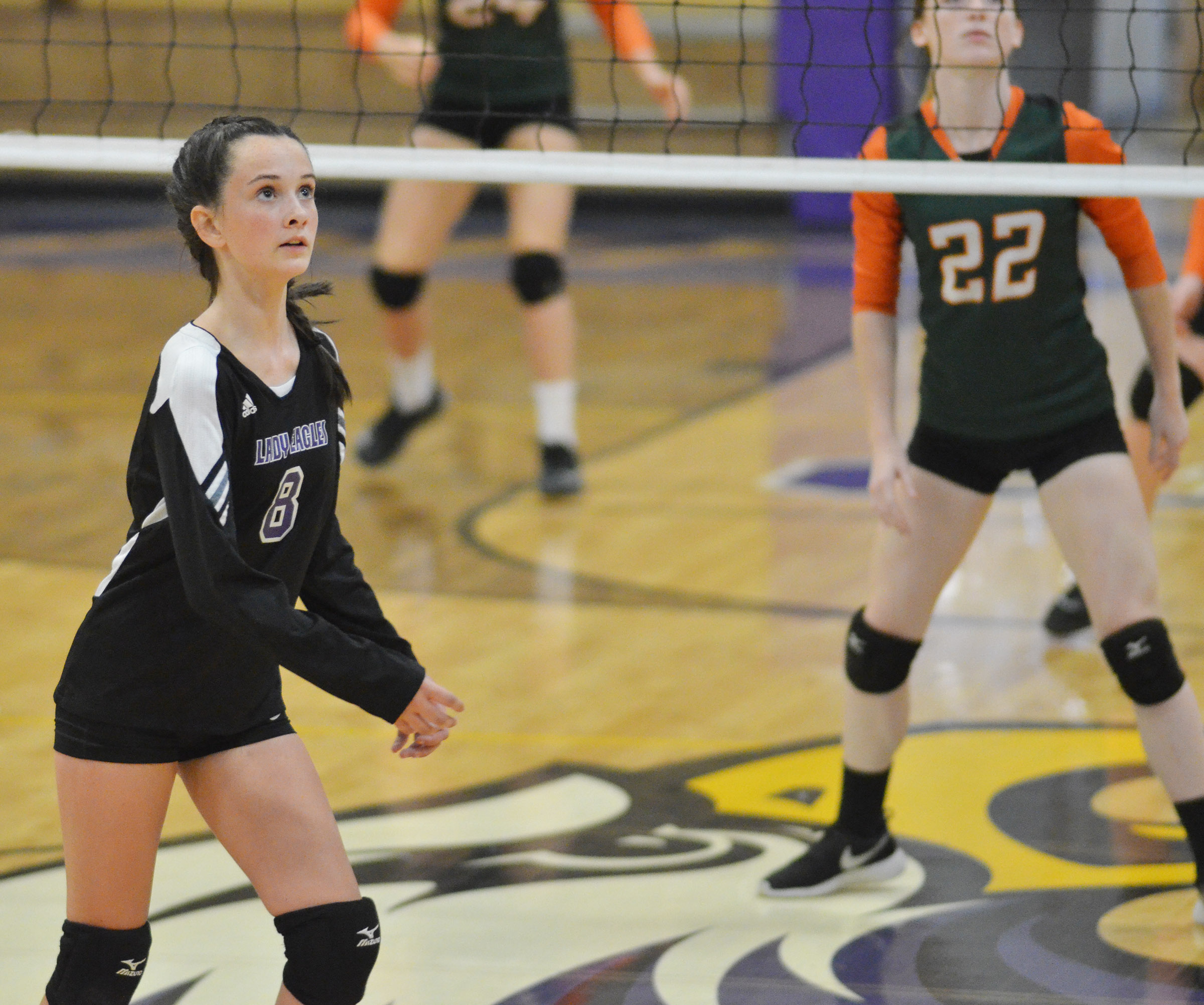 Campbellsville Middle School eighth-grader Sarah Adkins watches the ball.