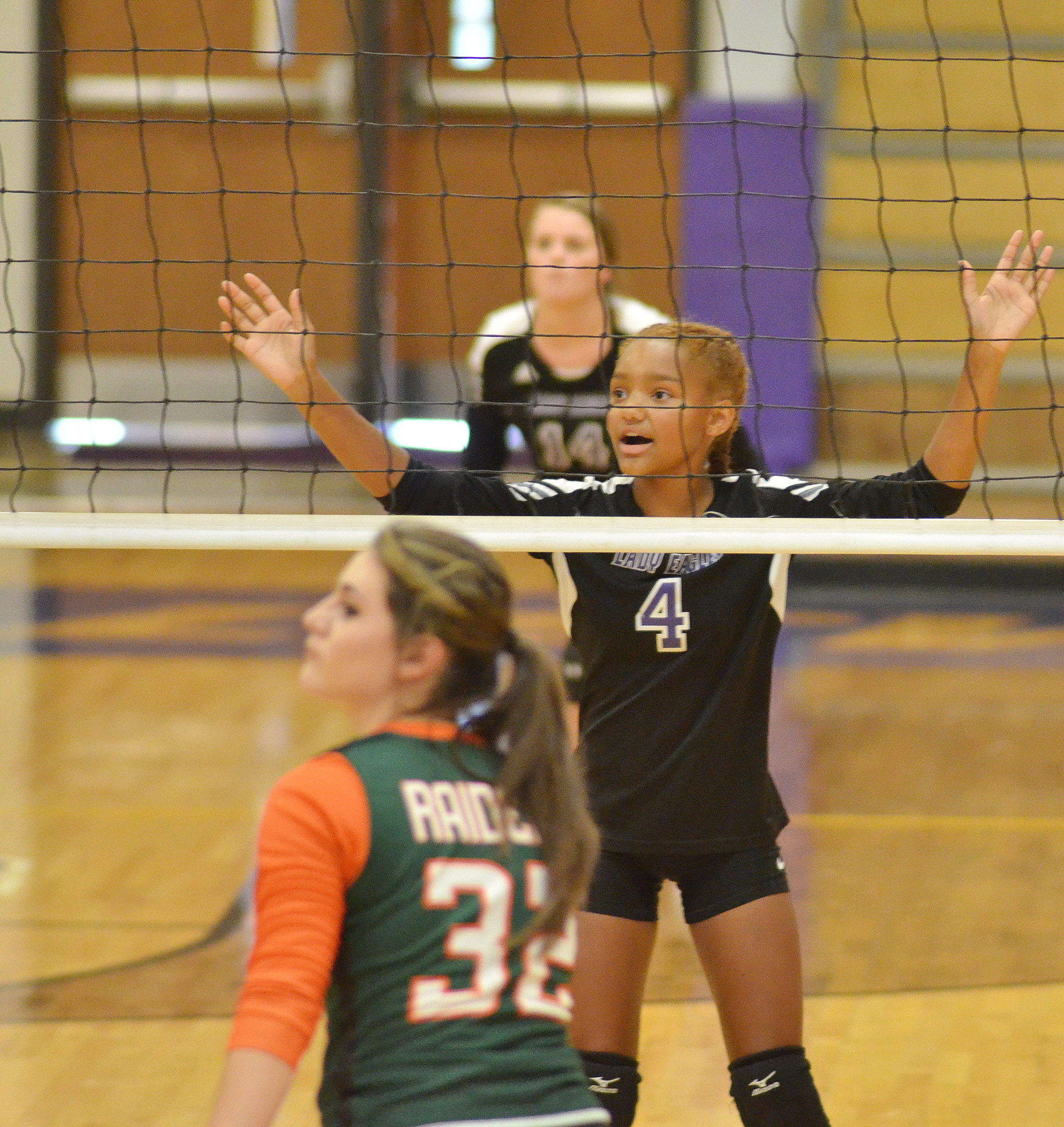 Campbellsville Middle School eighth-grader Alexis Thomas gets ready for the serve.