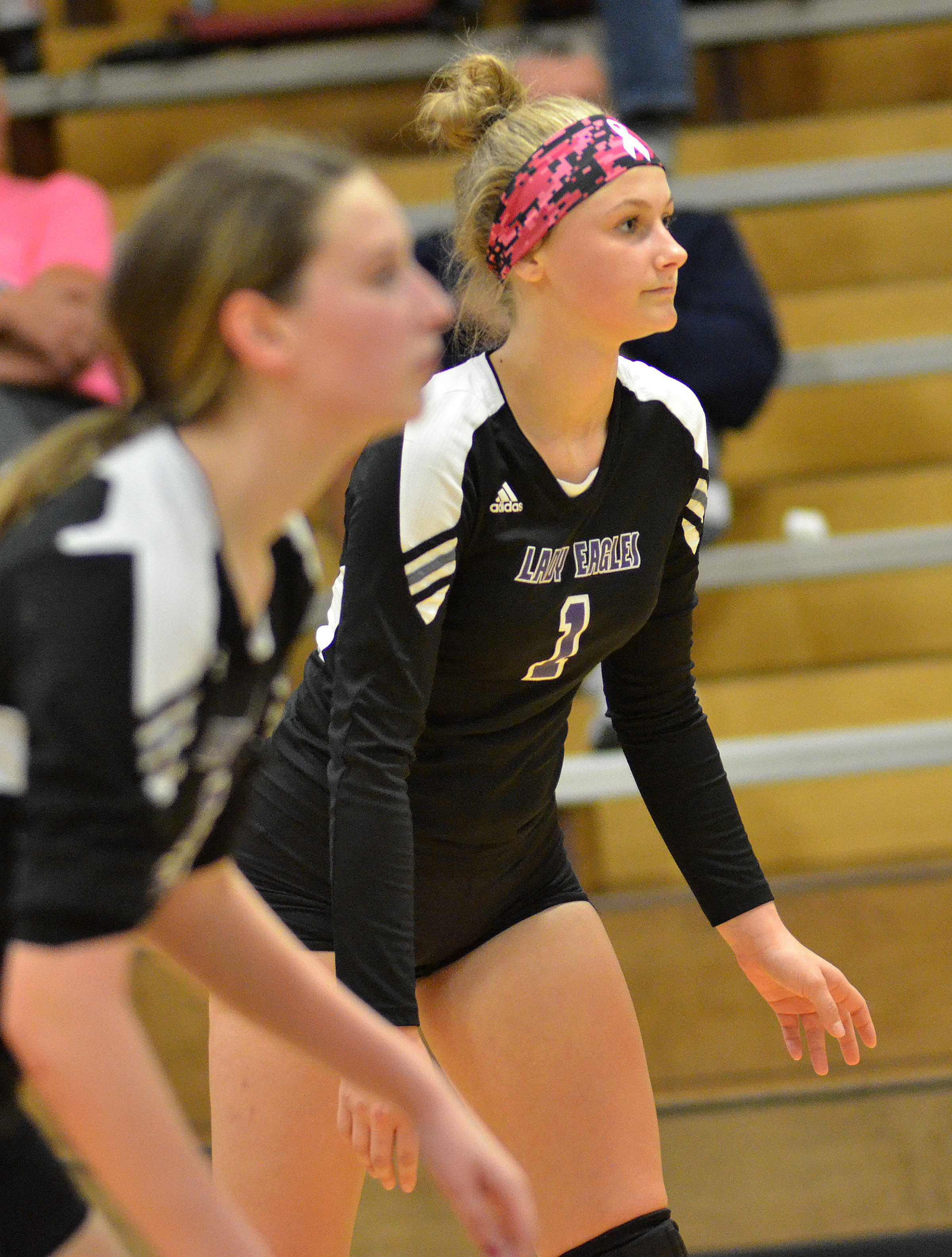 CHS sophomore Victoria Cox watches the ball.