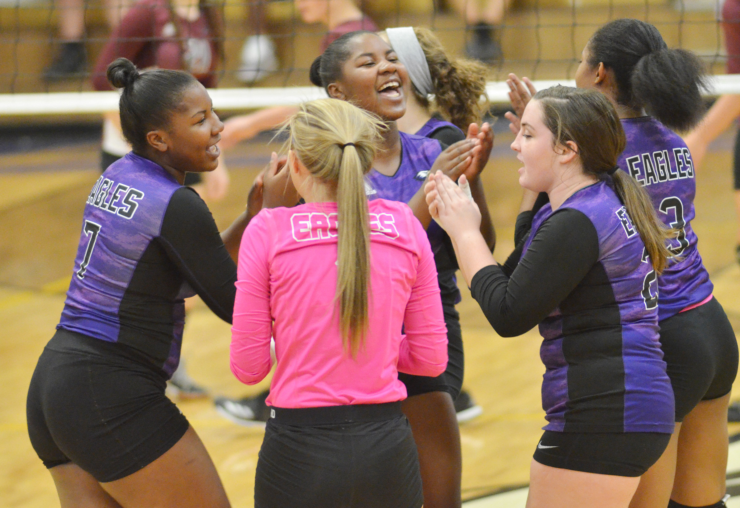 CHS volleyball players celebrate a point.