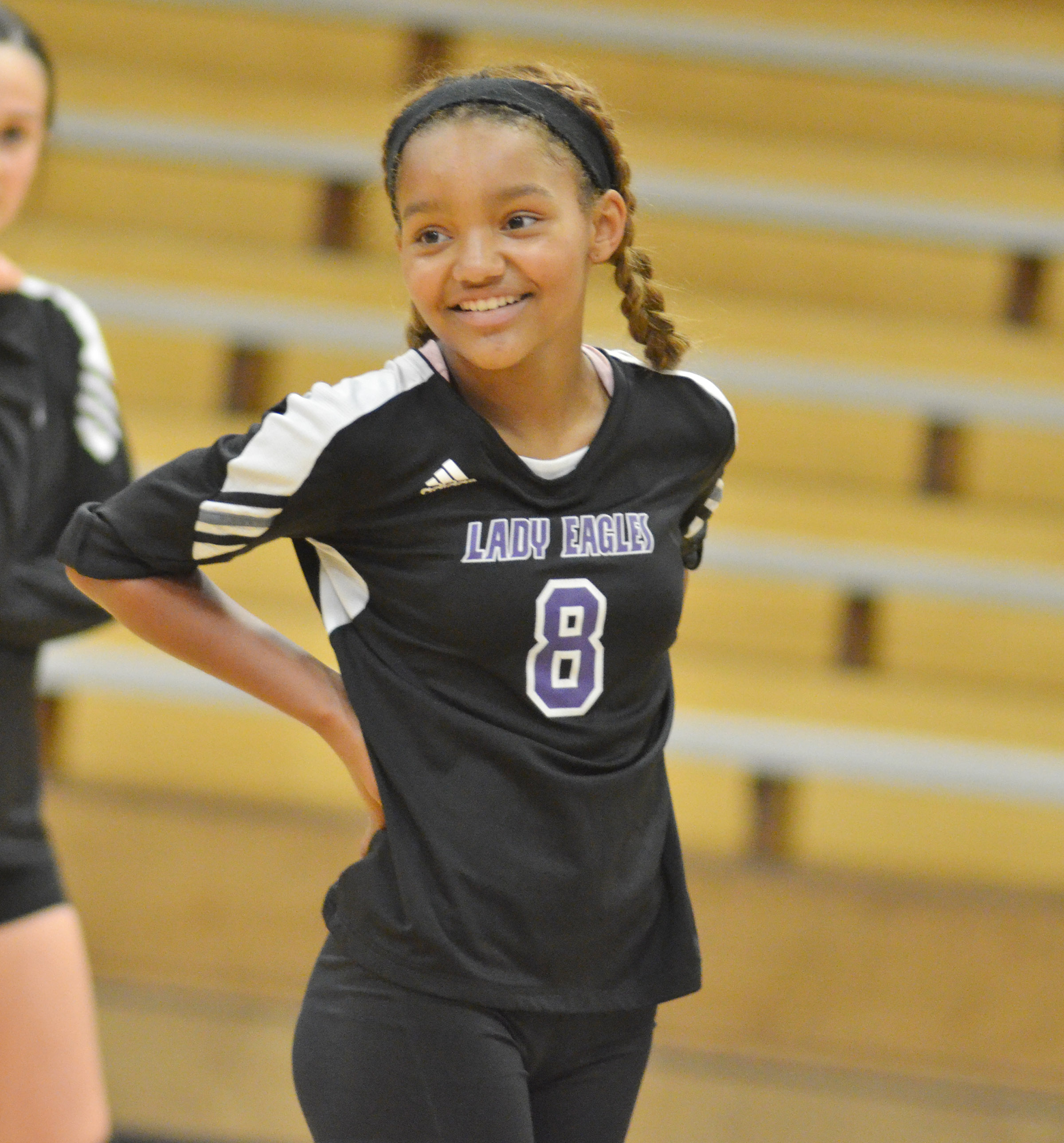 Campbellsville Middle School eighth-grader Alexis Thomas smiles after getting a point for her team.