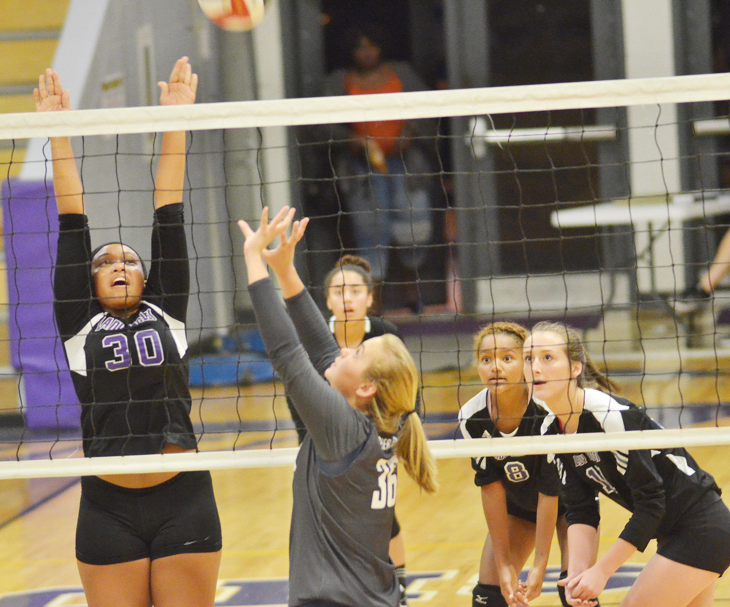 CHS sophomore Ketayah Taylor jumps to block a shot.