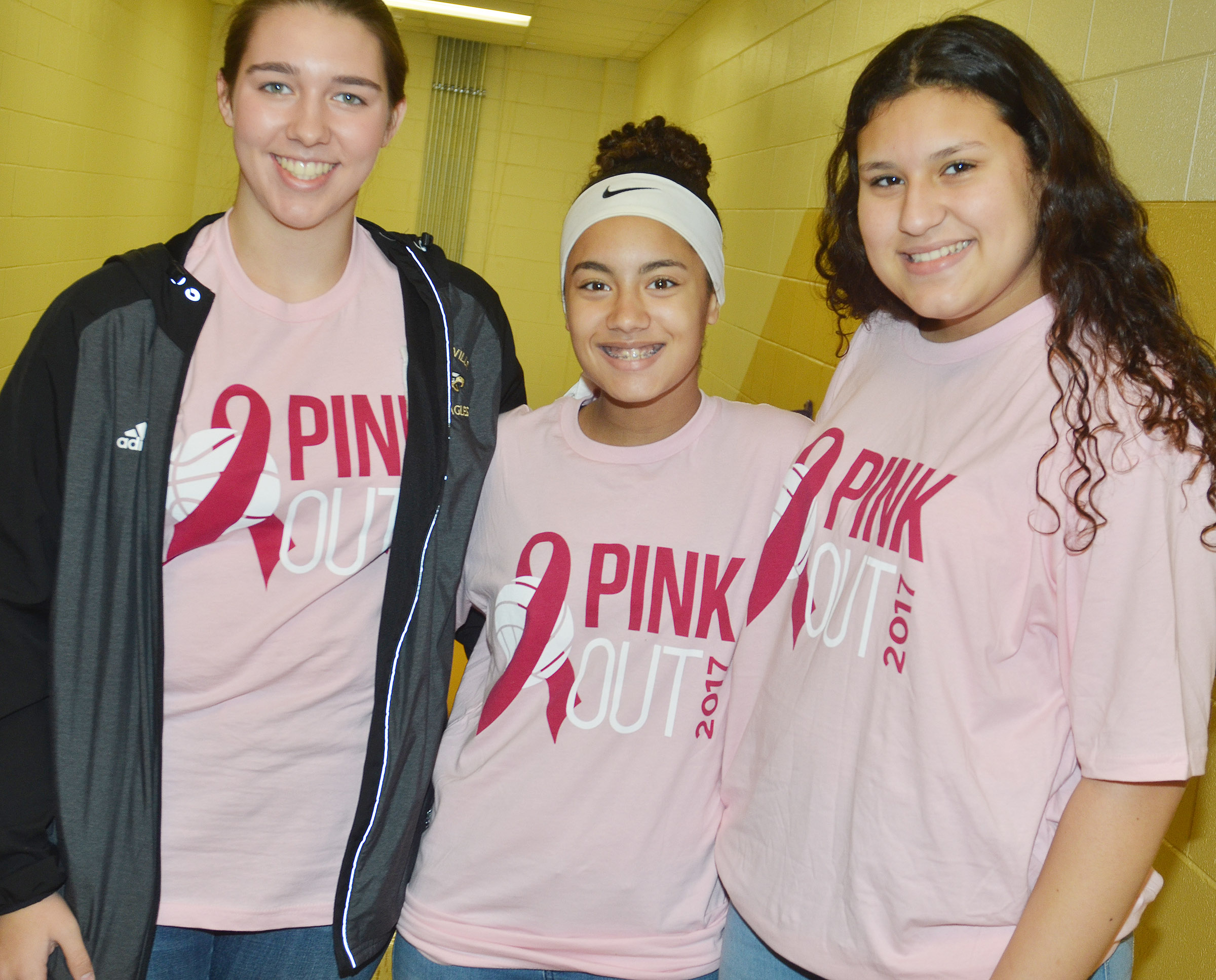 CHS students and teachers dress for the pink out.