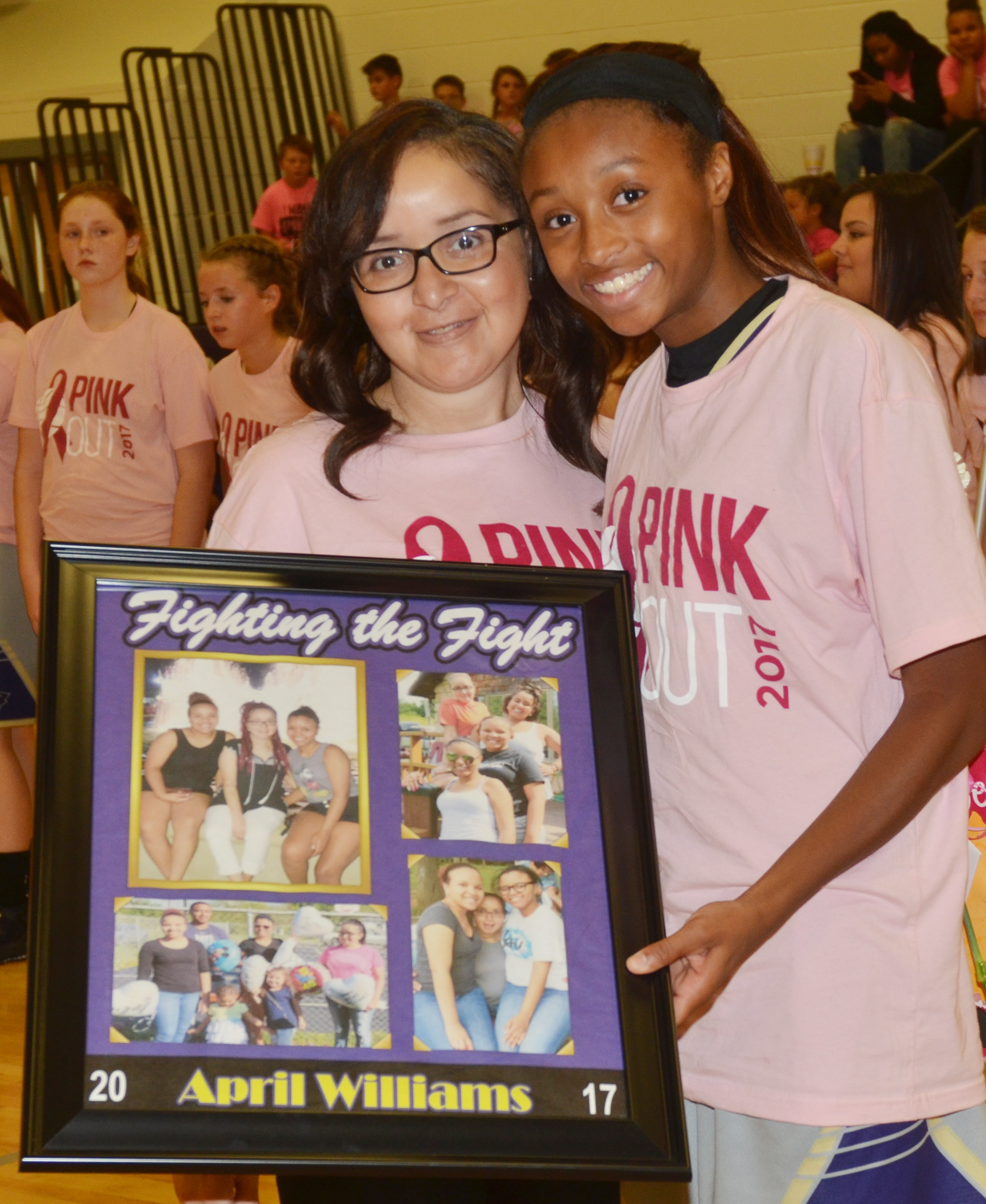 CMS girls' basketball eighth-grader Bri Gowdy honors her aunt, April Williams.