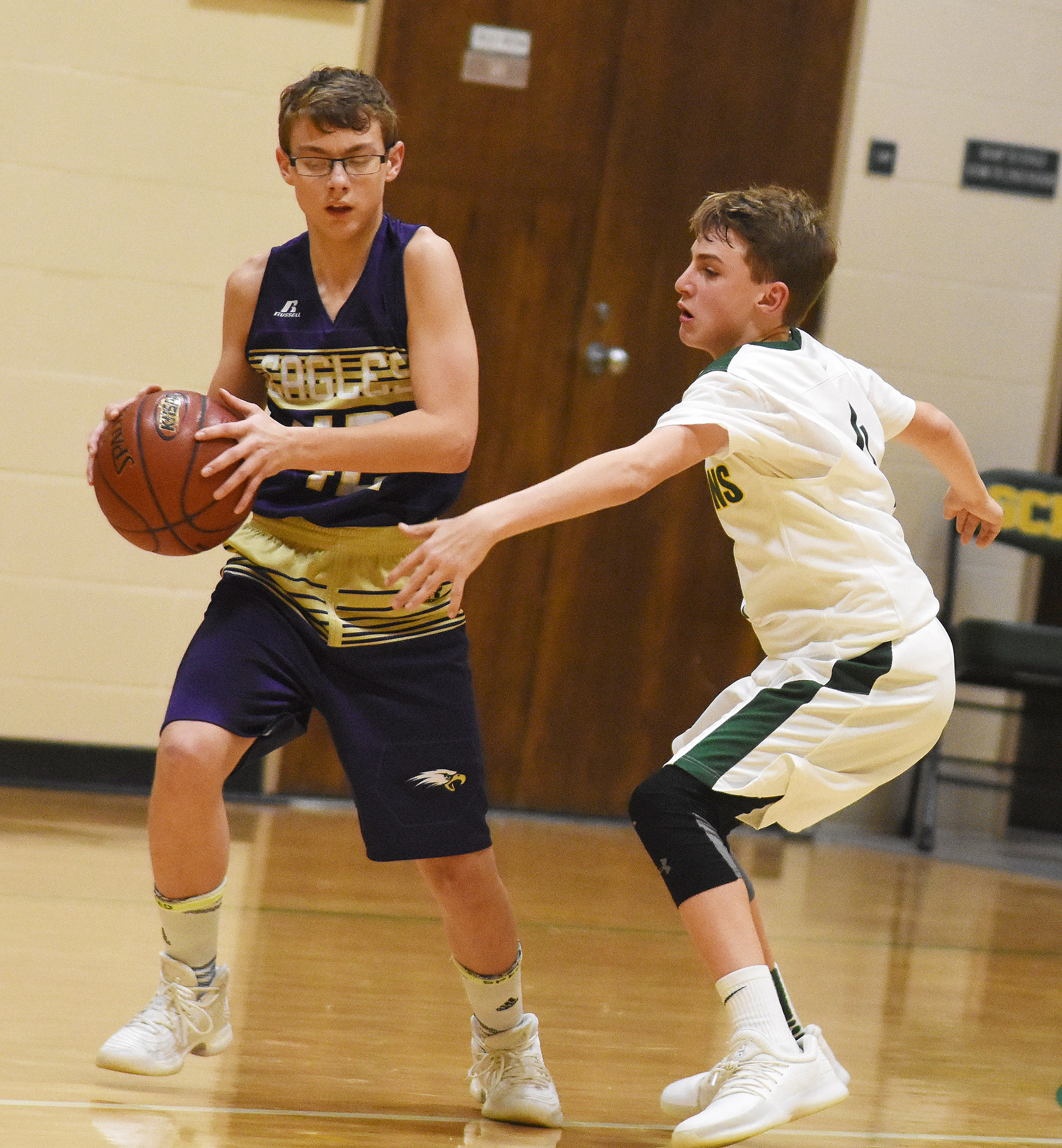 CMS eighth-grader Jarred Mays looks to pass.