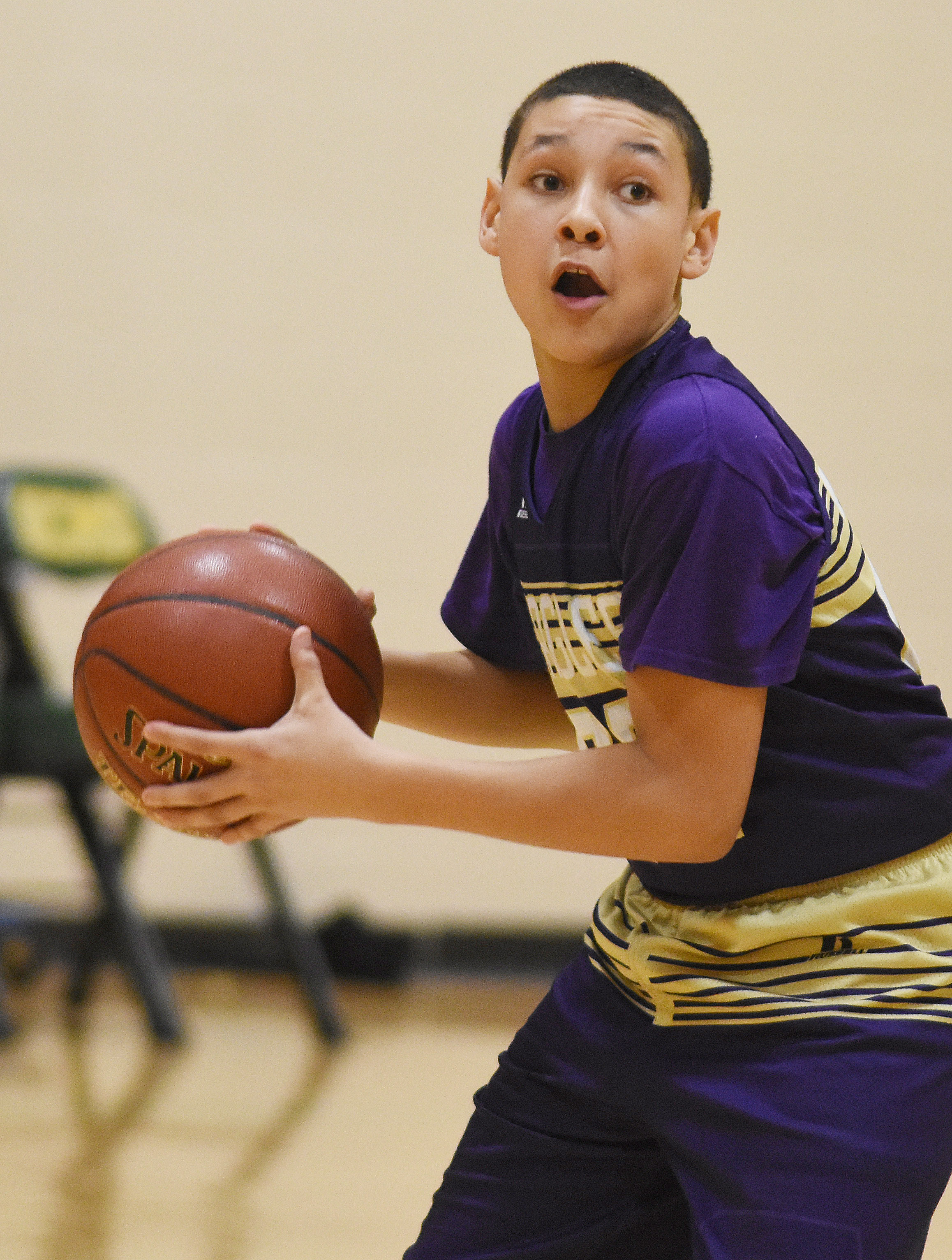 CMS eighth-grader Brice Spaw passes.