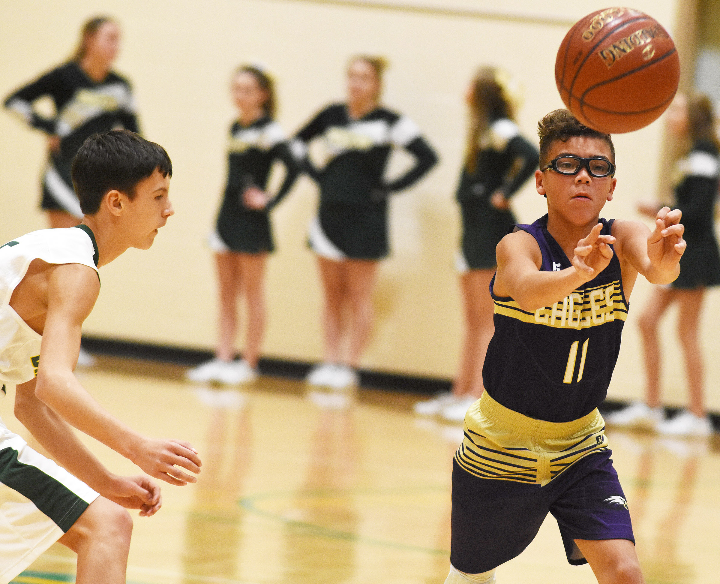 CMS eighth-grader Logan Phillips passes.