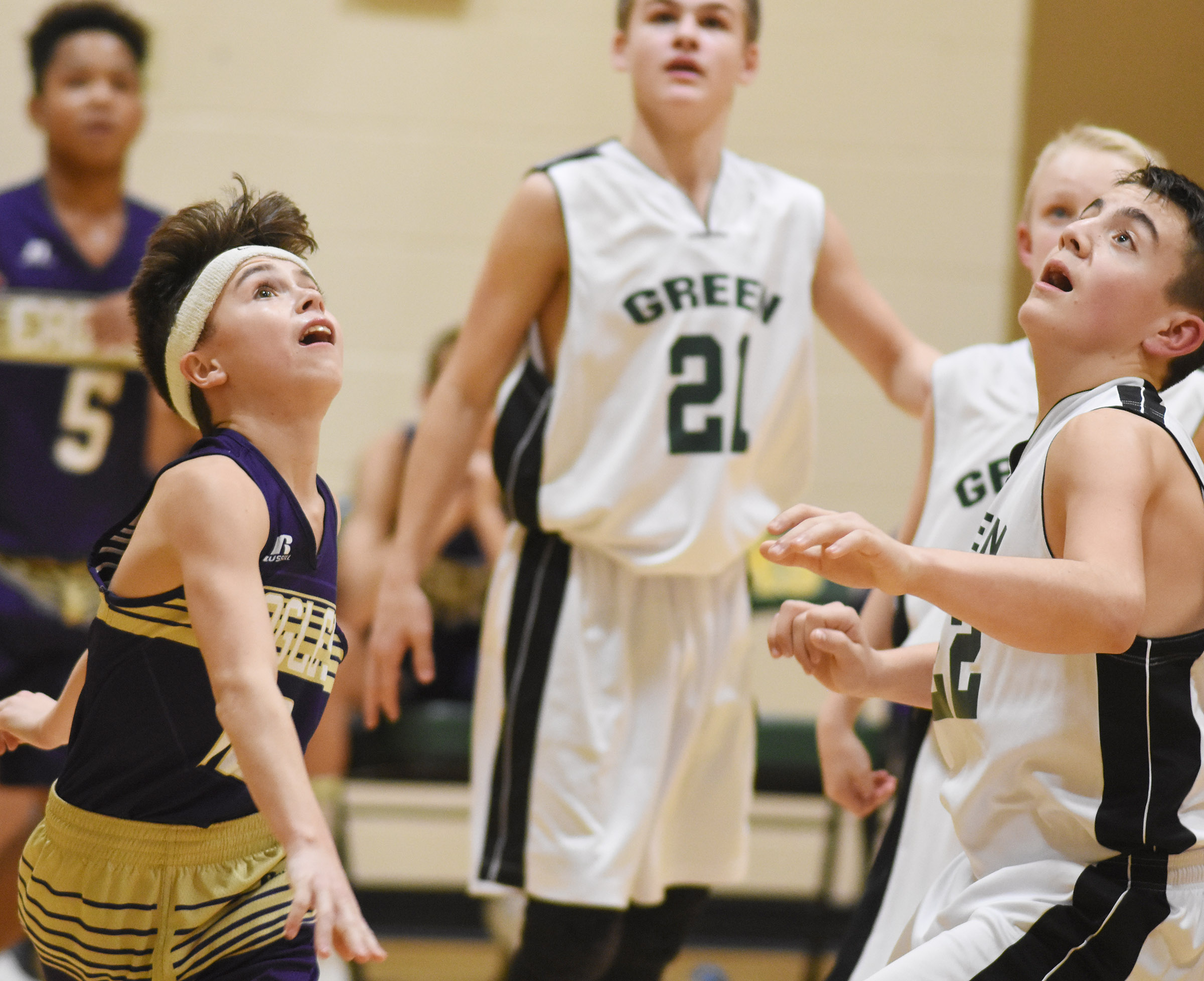 CMS seventh-grader Chase Hord looks for a rebound.