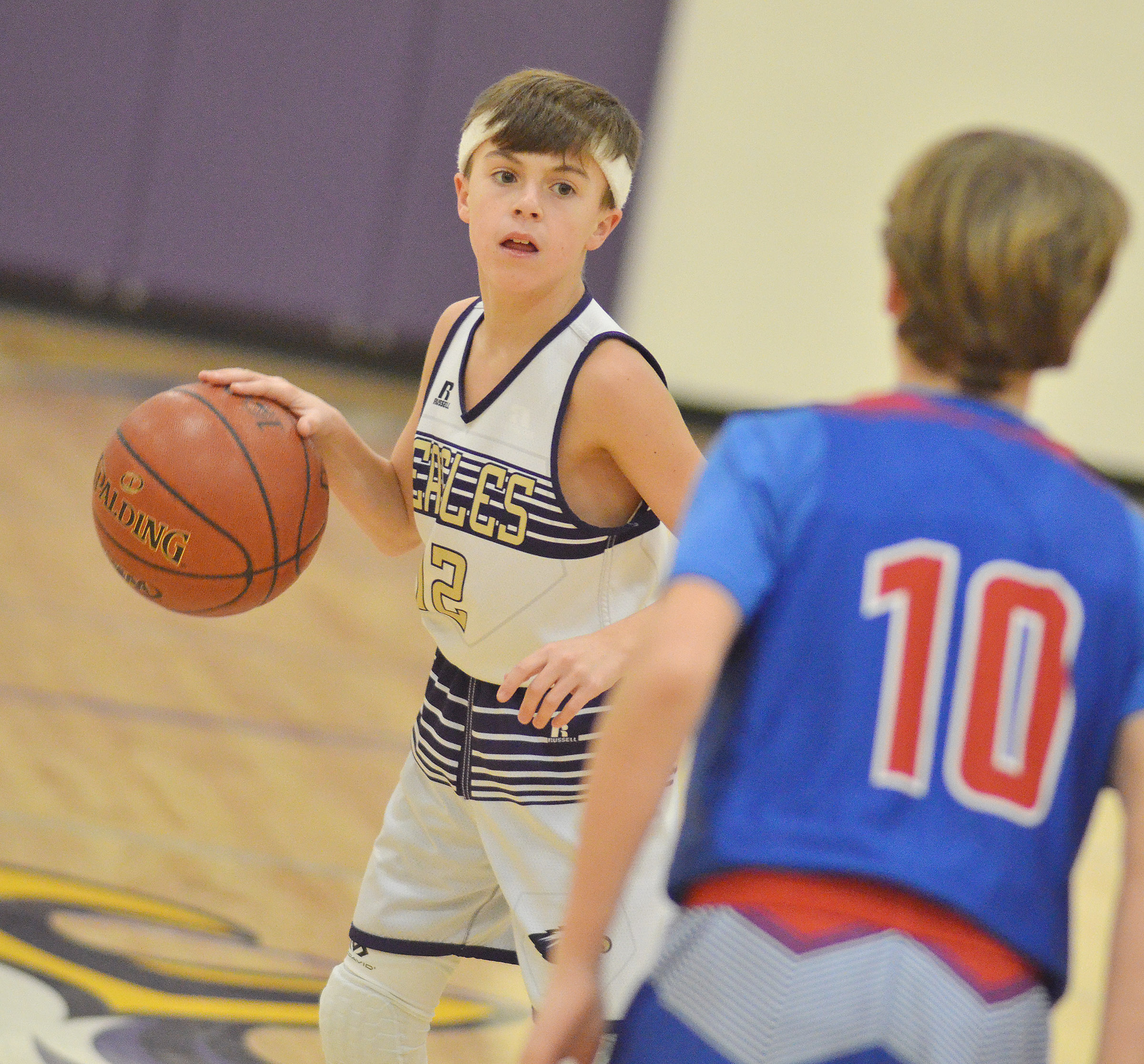 CMS seventh-grader Chase Hord sets up a play.