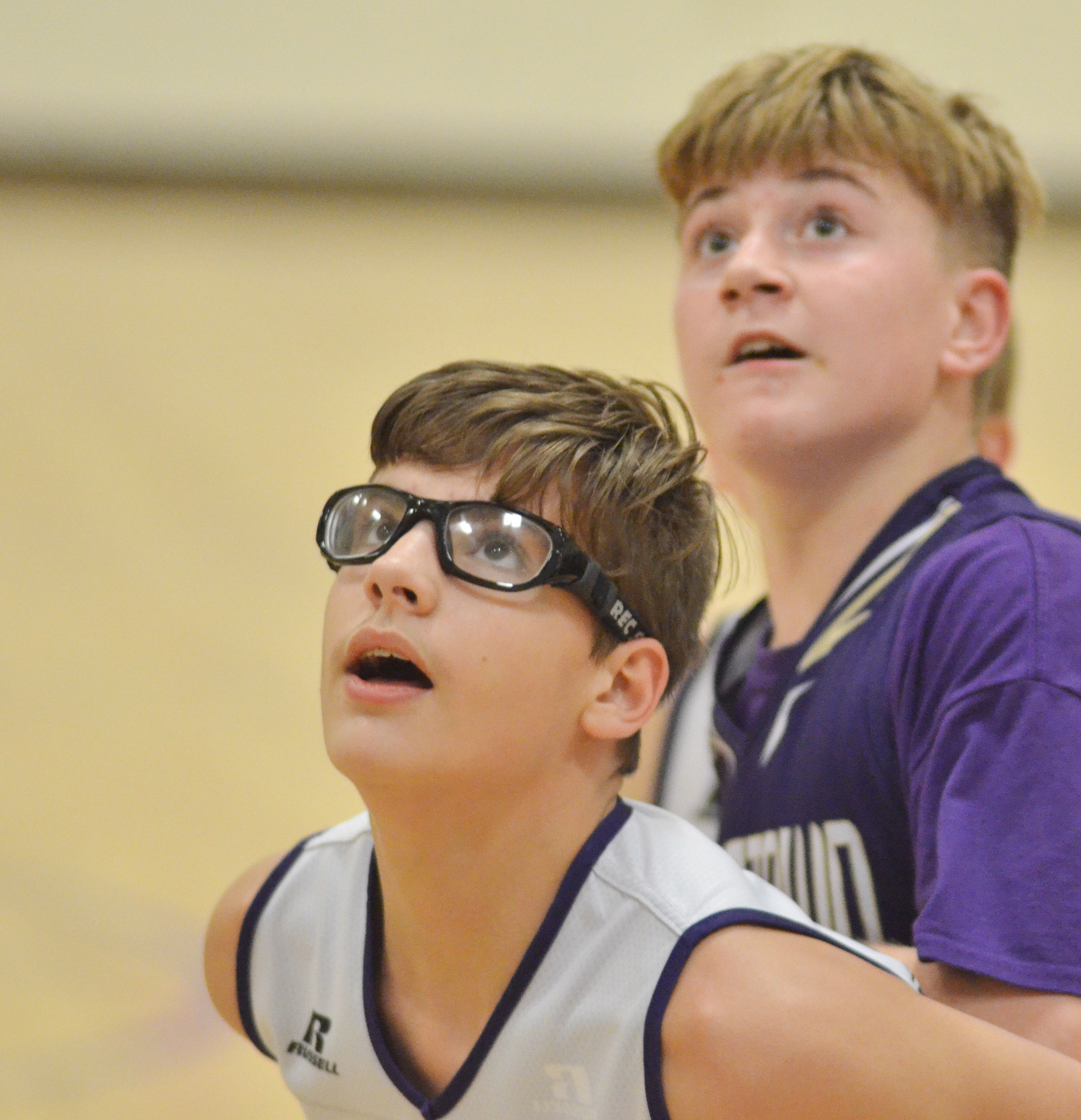 Campbellsville Elementary School fifth-grader Dalton Morris looks for a rebound.