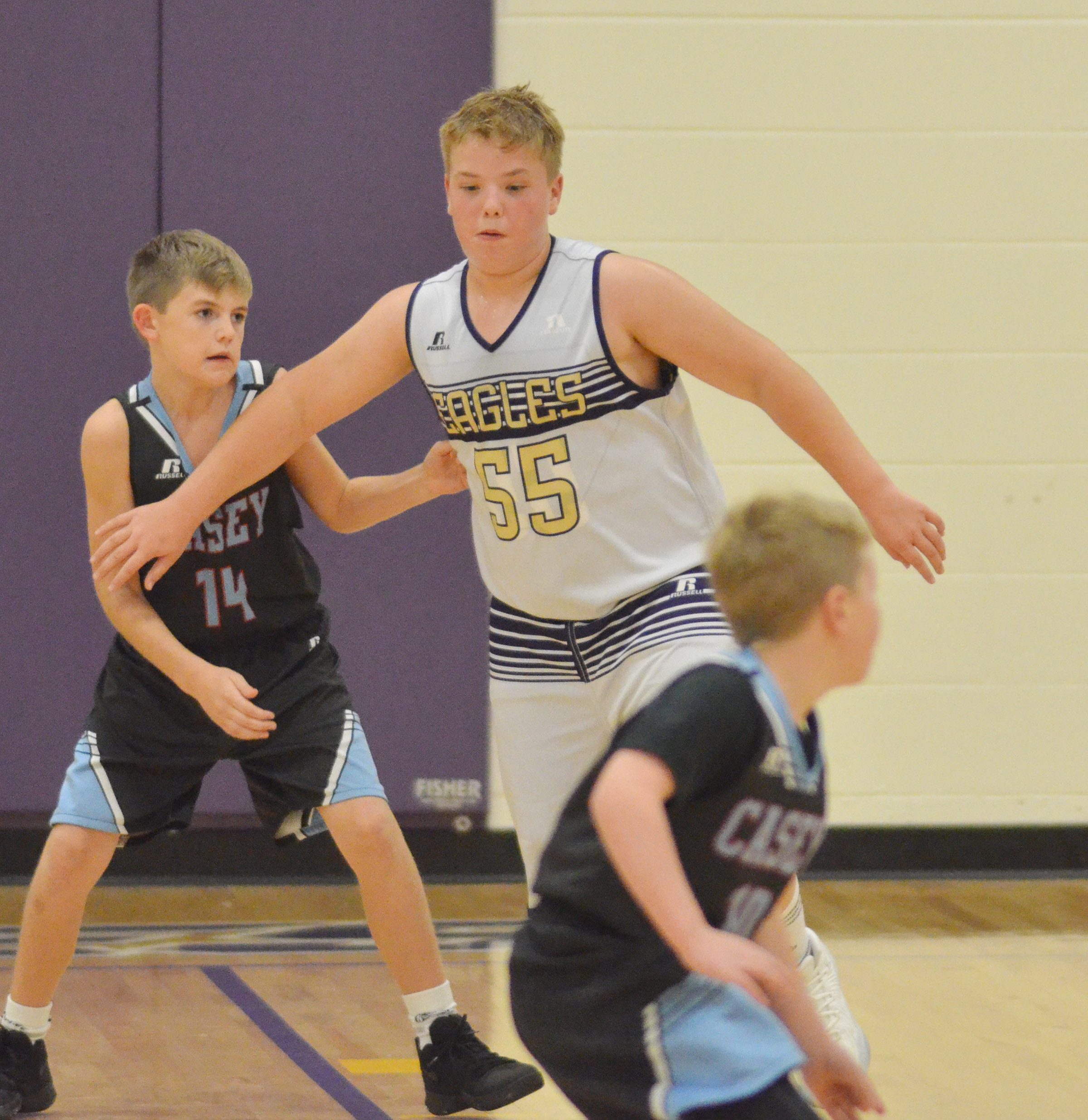 CMS sixth-grader Ryan Grubbs plays defense.
