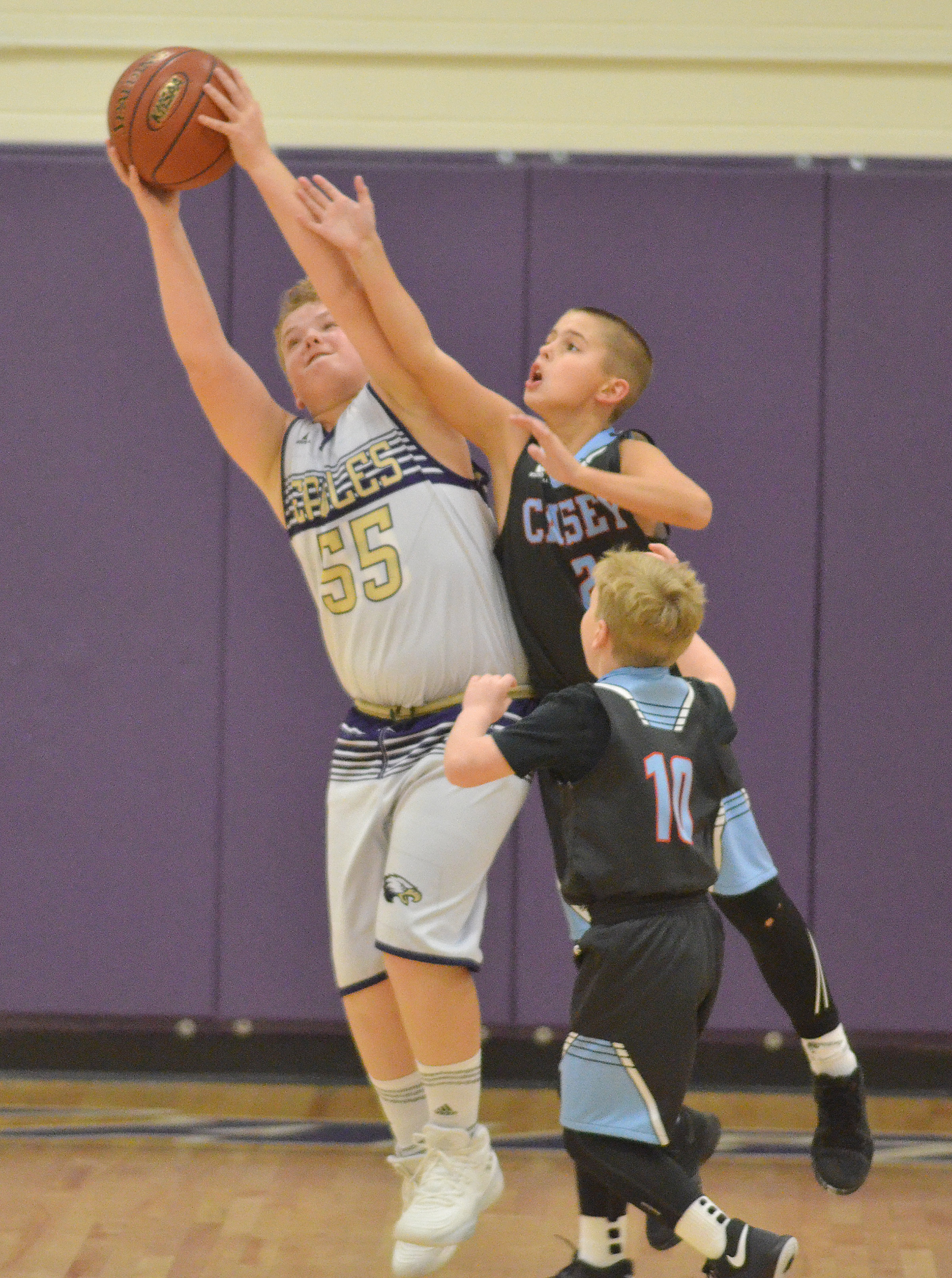 CMS sixth-grader Ryan Grubbs fights for the ball.