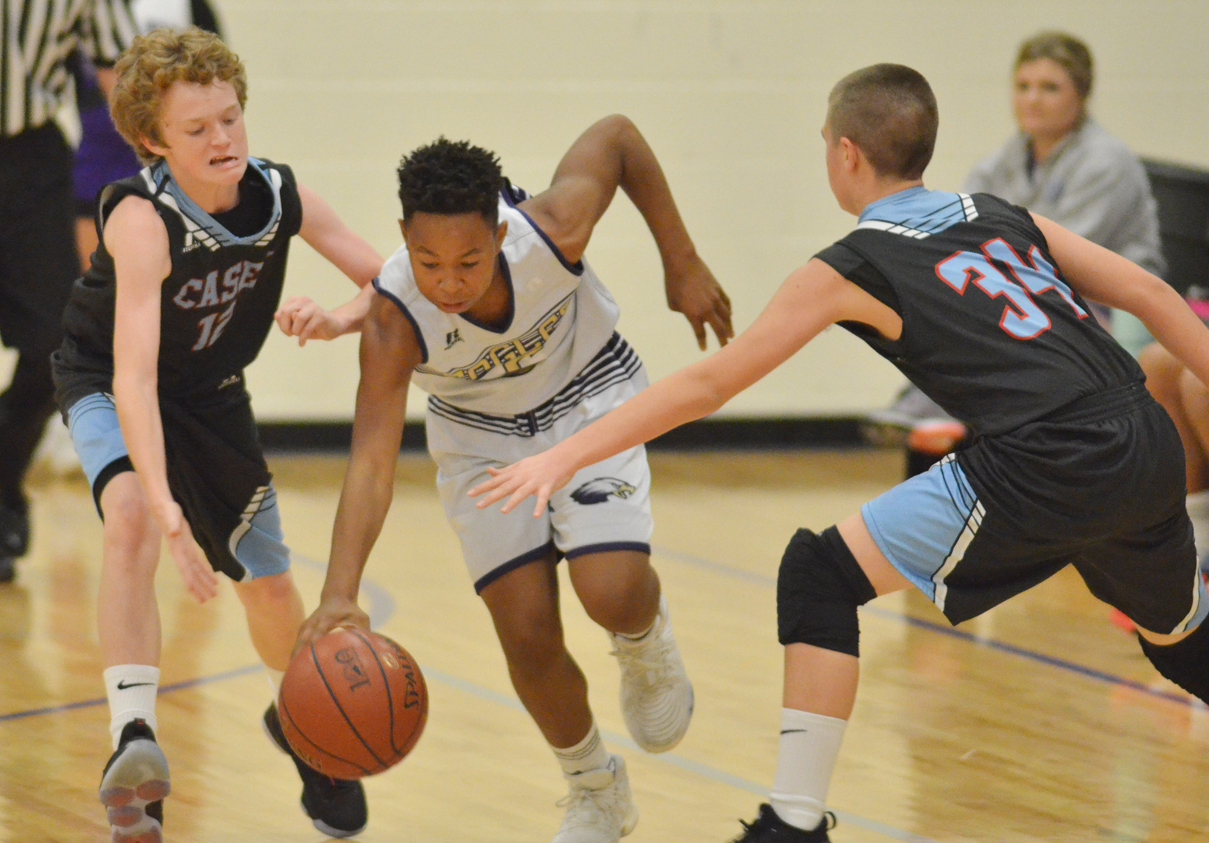 CMS seventh-grader Deondre Weathers protects the ball.