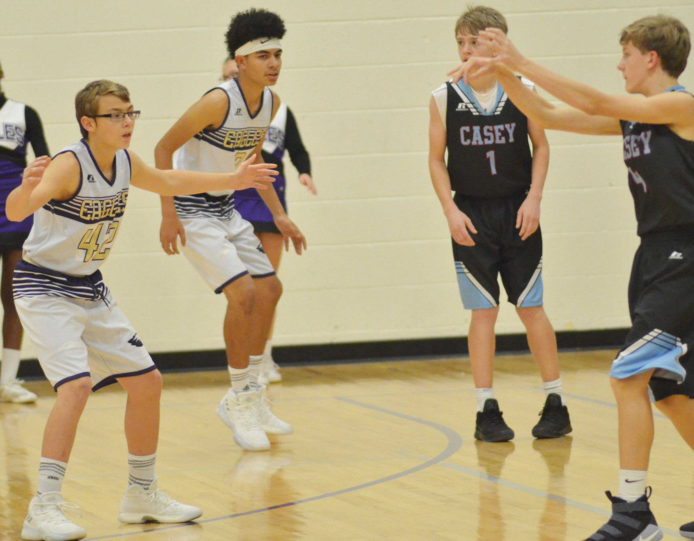 CMS eighth-grader Jarred Mays, at left, and Adrien Smith play defense.
