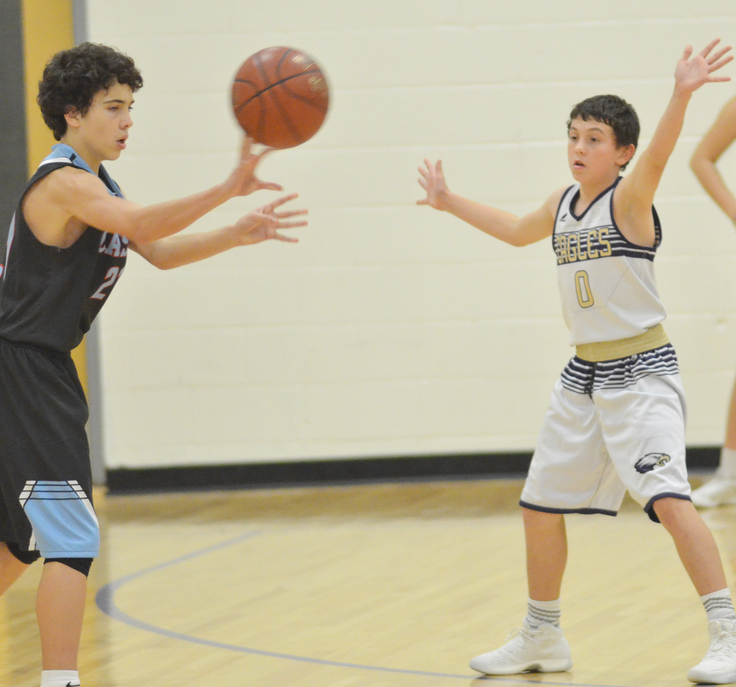 CMS eighth-grader Dakota Harris plays defense.