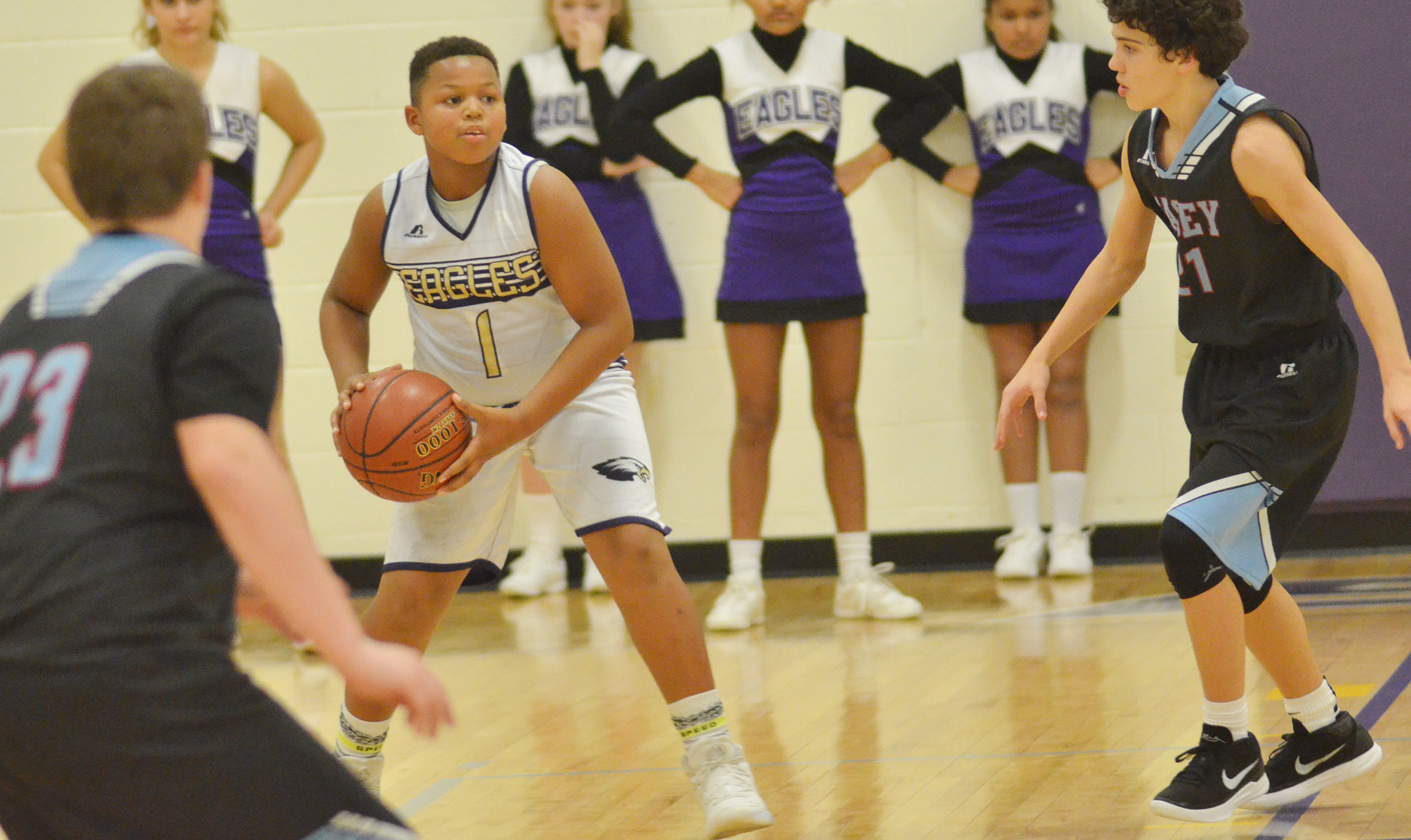 CMS seventh-grader Keondre Weathers looks to pass.