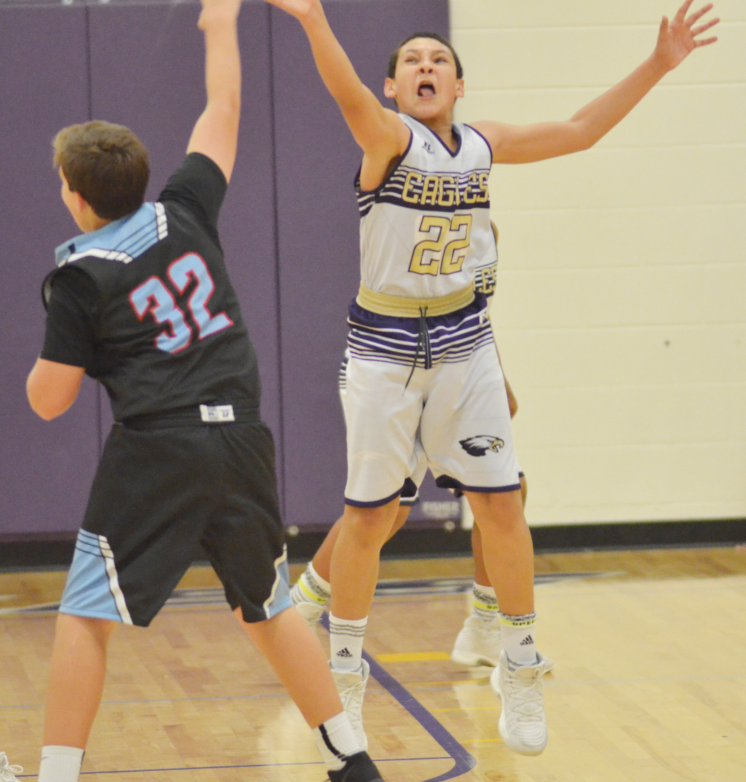 CMS eighth-grader Brice Spaw plays defense.