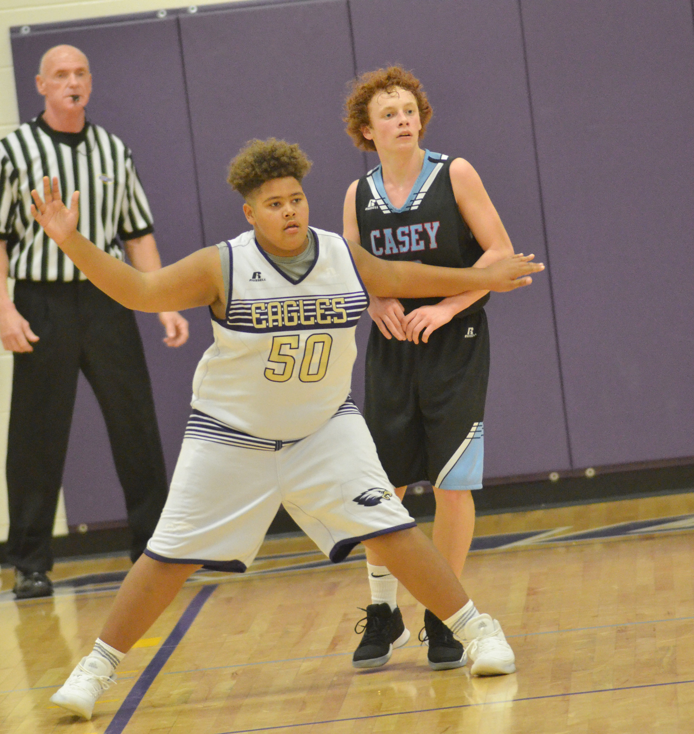CMS eighth-grader Brandon Pittman plays defense.