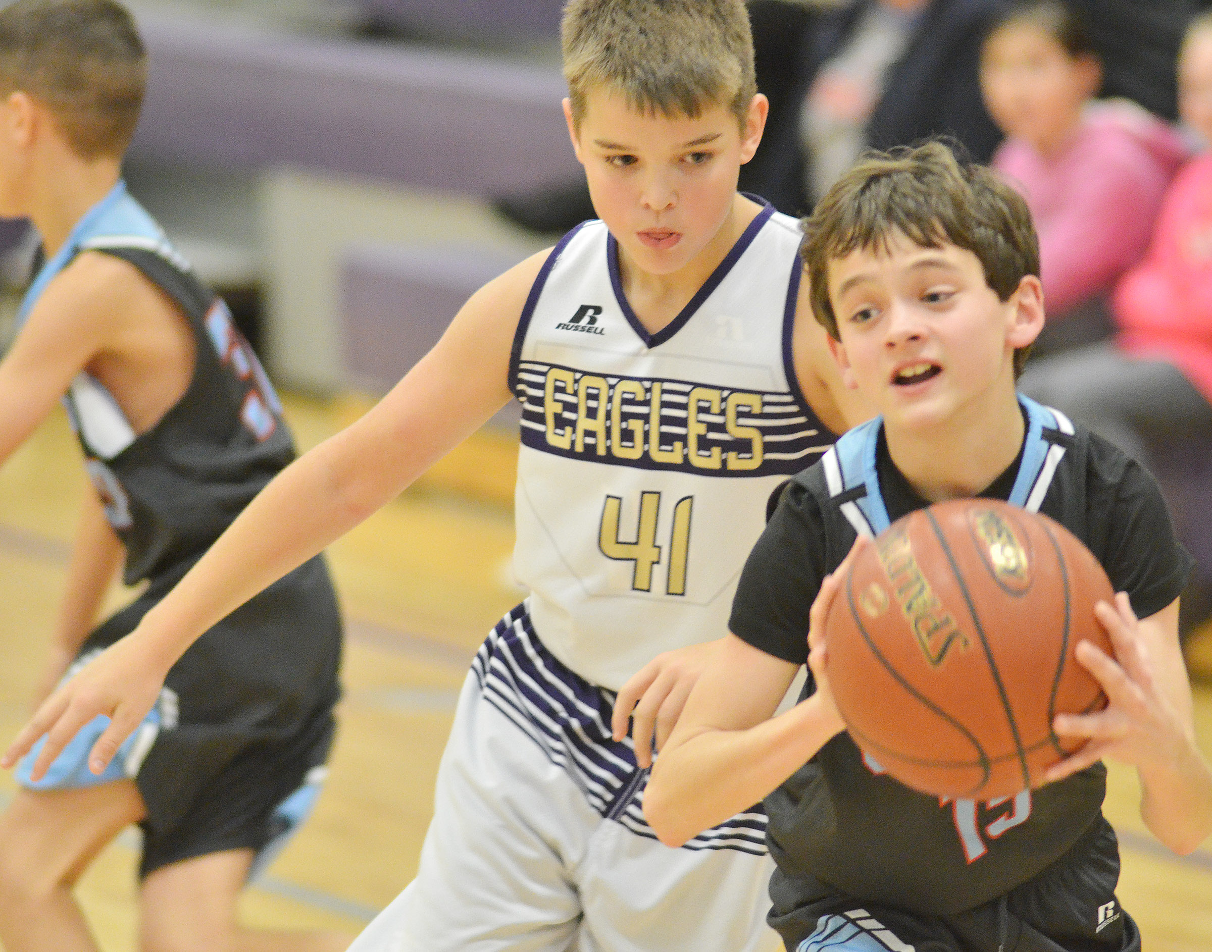 CMS sixth-grader Kaden Bloyd plays defense.