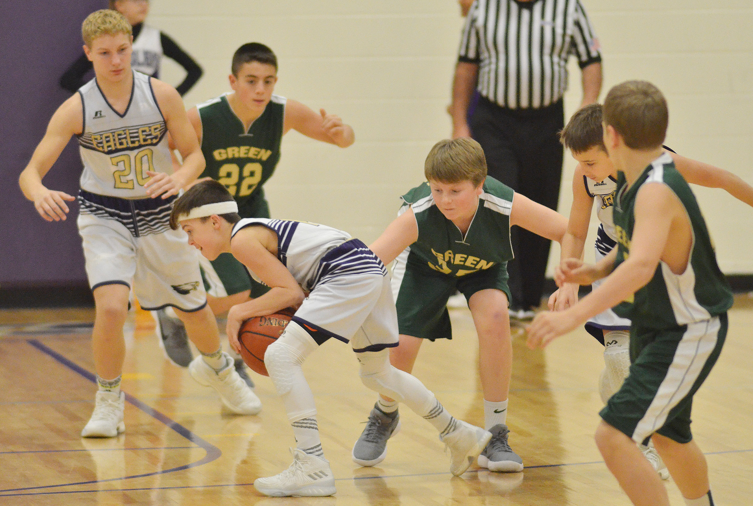 CMS seventh-grader Chase Hord holds on to the ball.