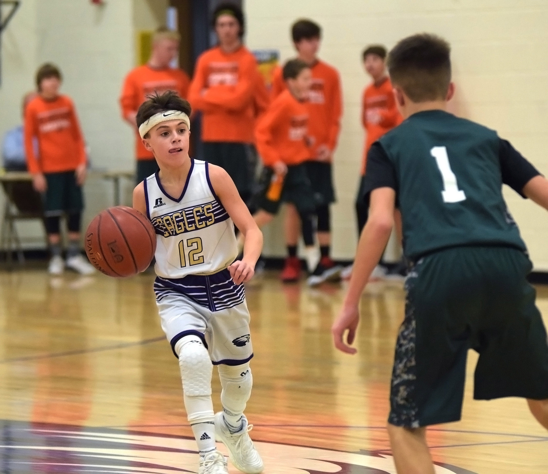 CMS seventh-grader Chase Hord dribbles.