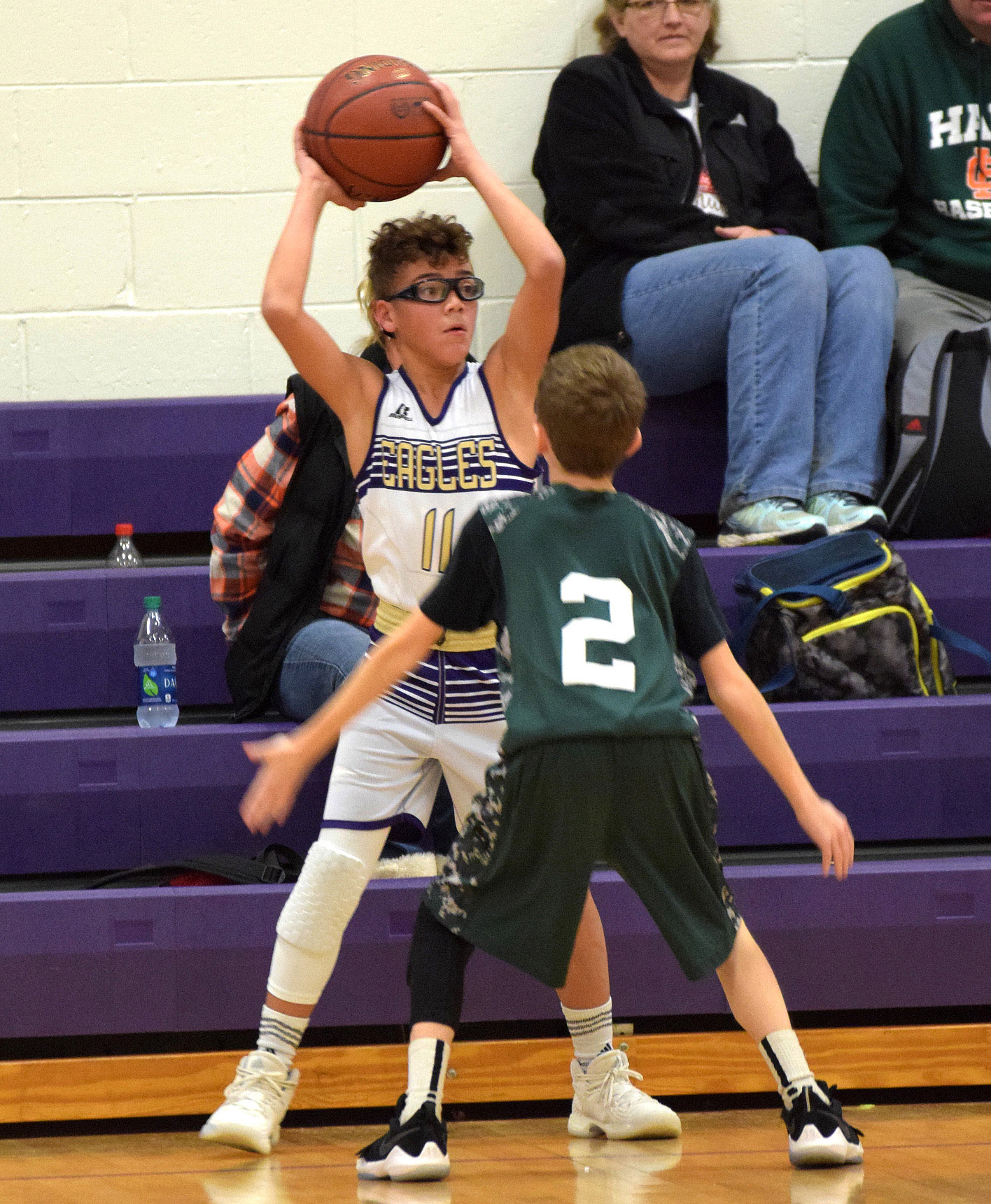 CMS eighth-grader Logan Phillips looks to pass.